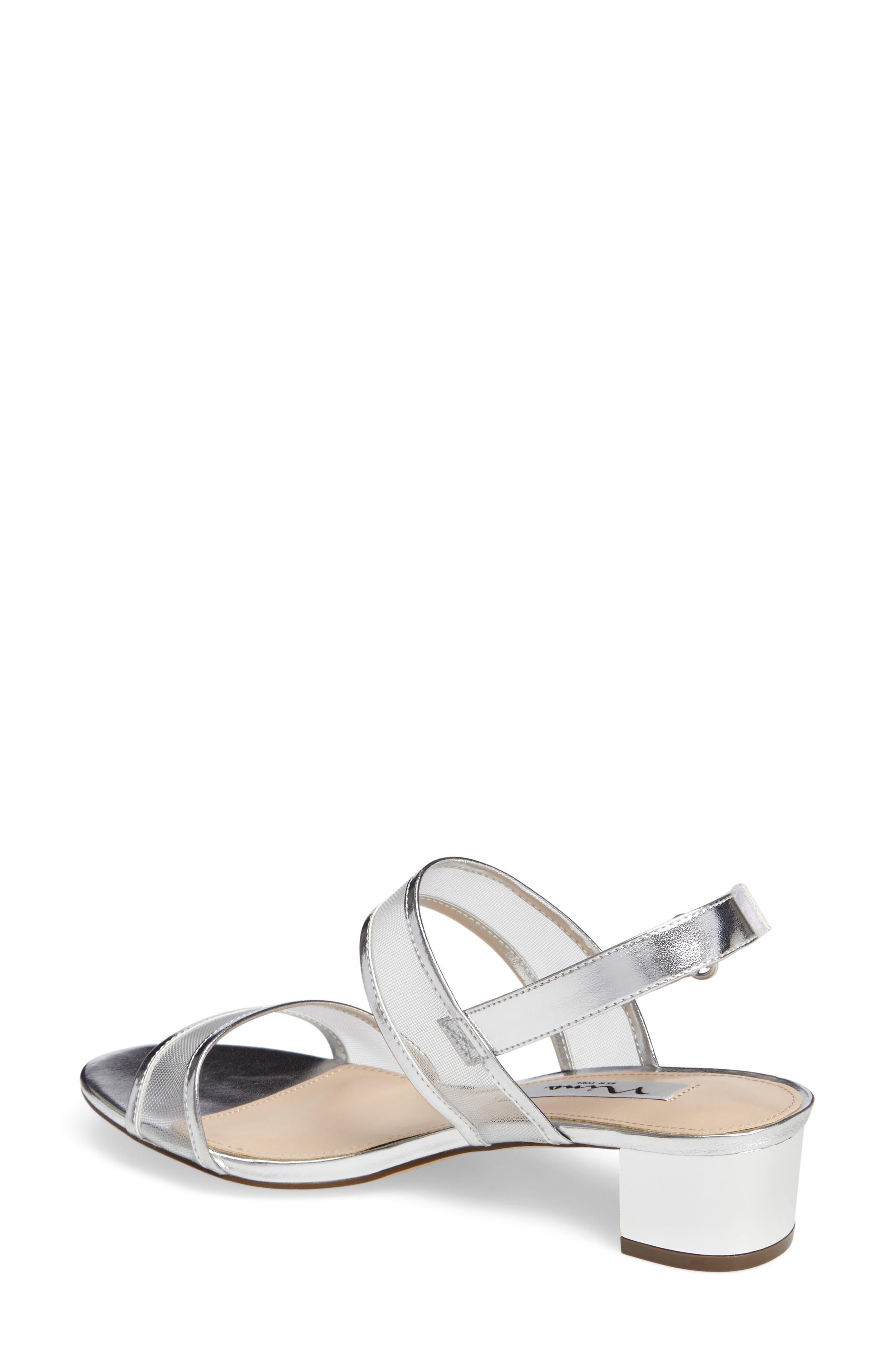 Ganice Mesh Strap Sandal,                             Alternate thumbnail 2, color,                             Silver Faux Leather