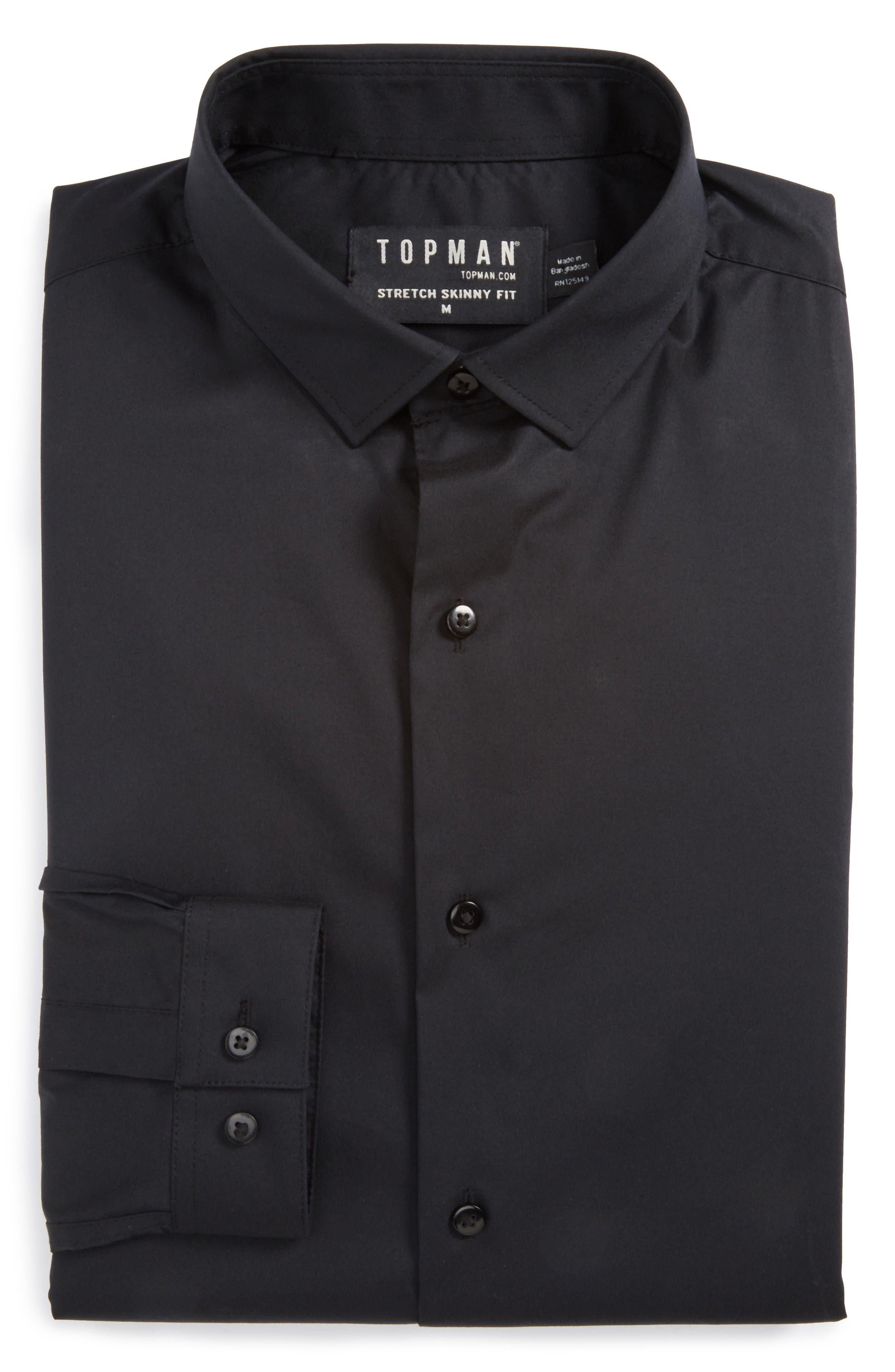 Skinny Fit Stretch Dress Shirt,                             Alternate thumbnail 5, color,                             Black