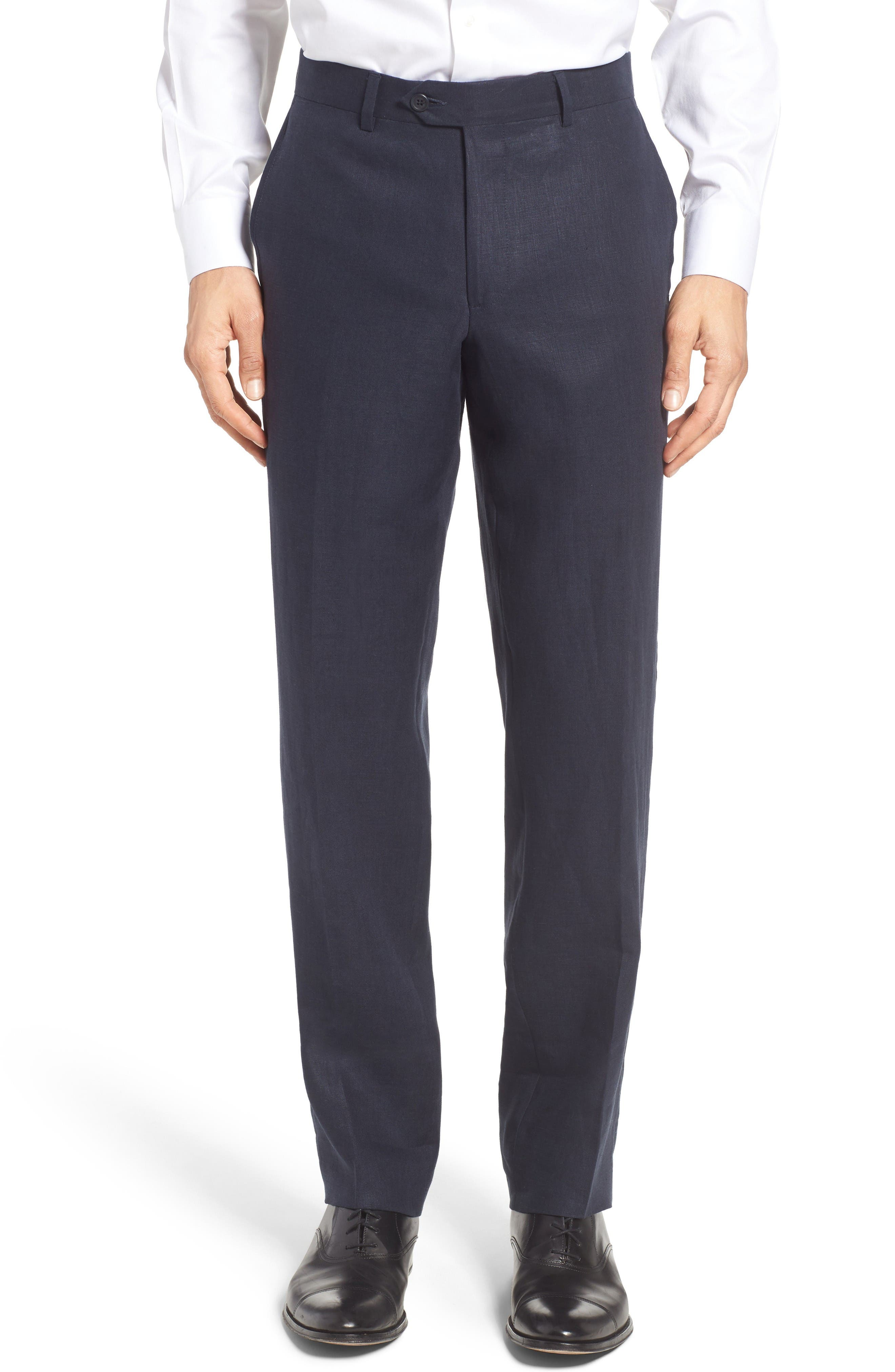 Flat Front Solid Linen Trousers,                             Main thumbnail 1, color,                             Navy