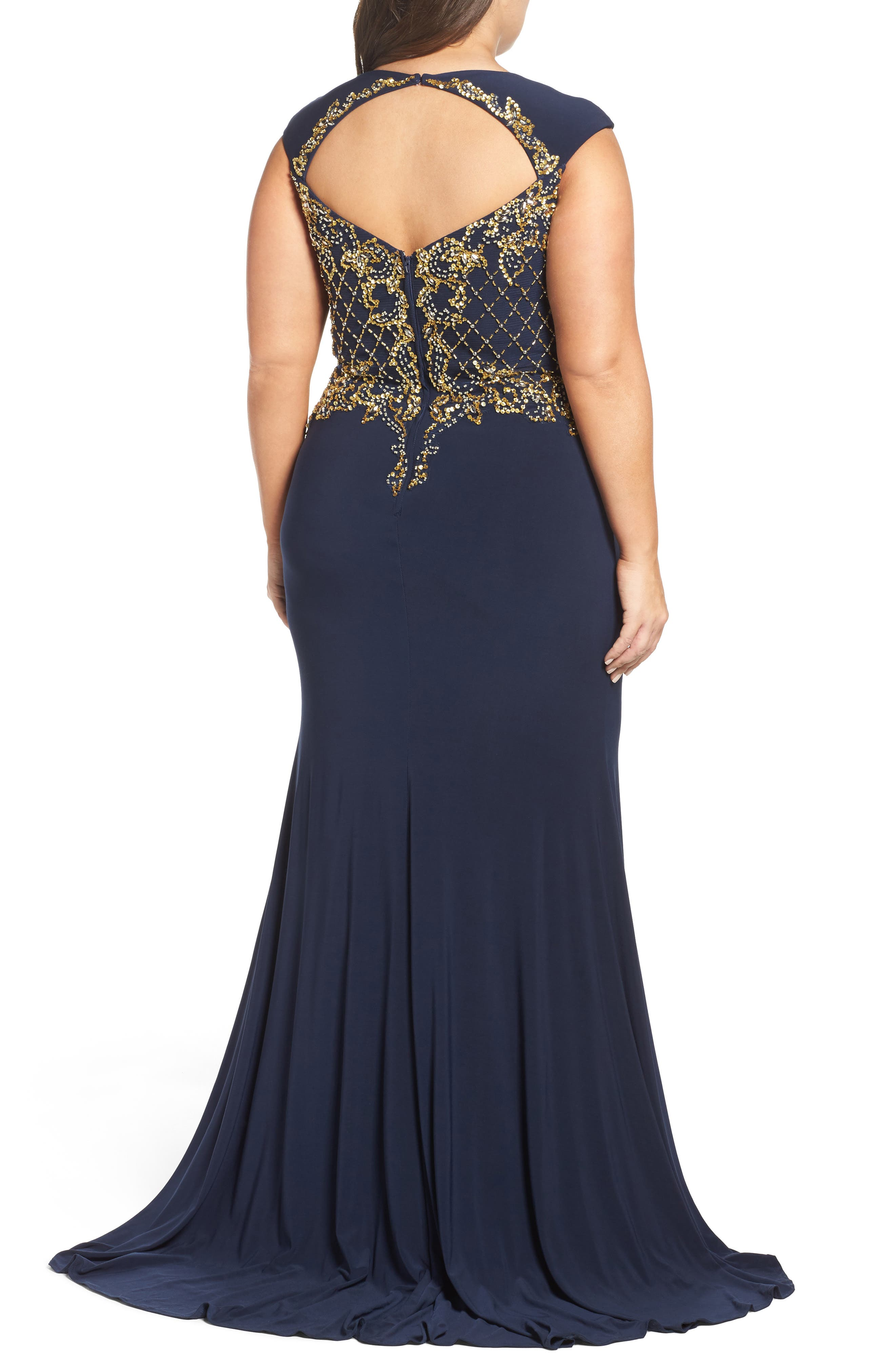 Embellished Jersey Mermaid Gown,                             Alternate thumbnail 2, color,                             Midnight