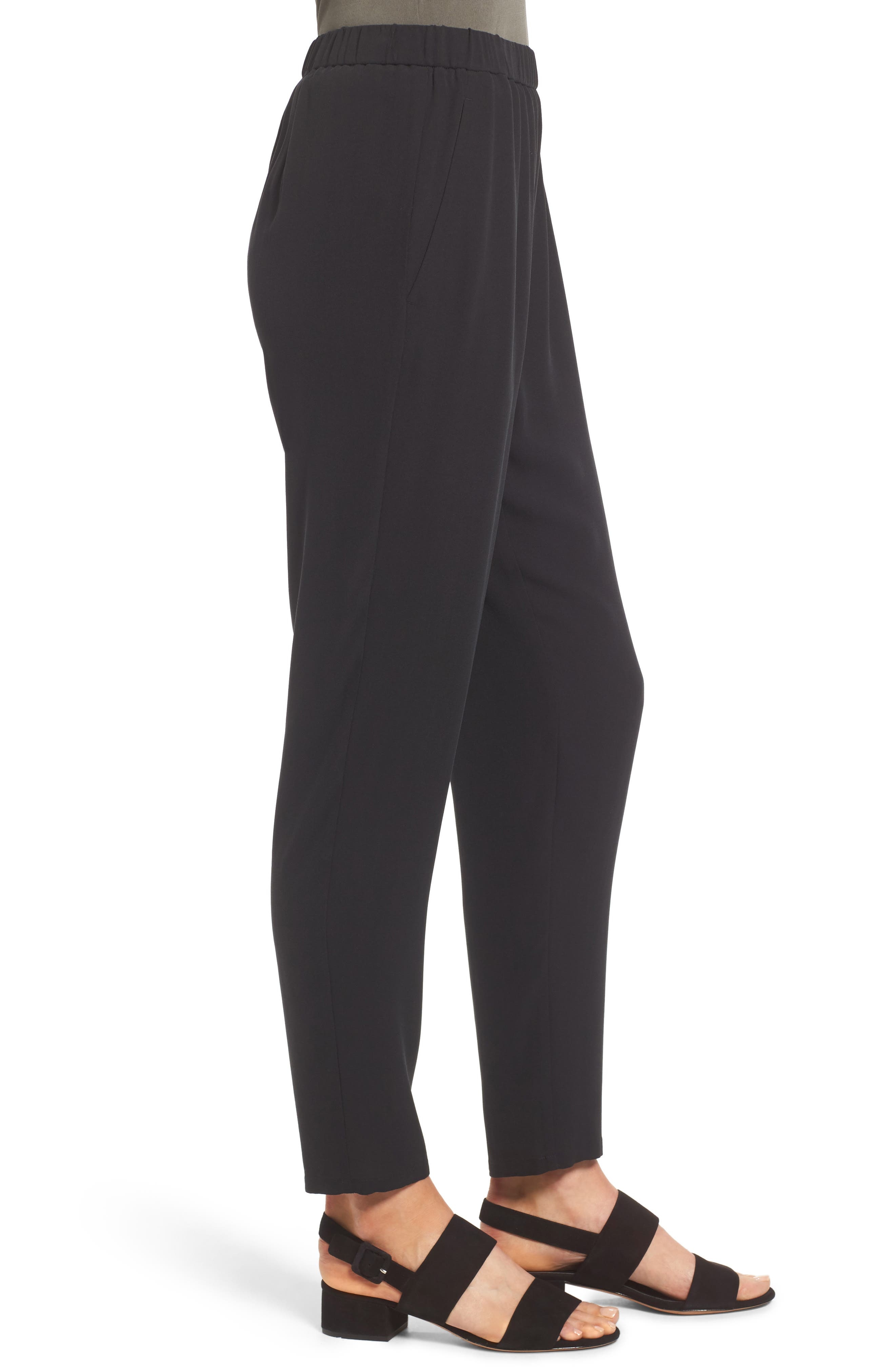 Slouchy Silk Crepe Ankle Pants,                             Alternate thumbnail 3, color,                             Black