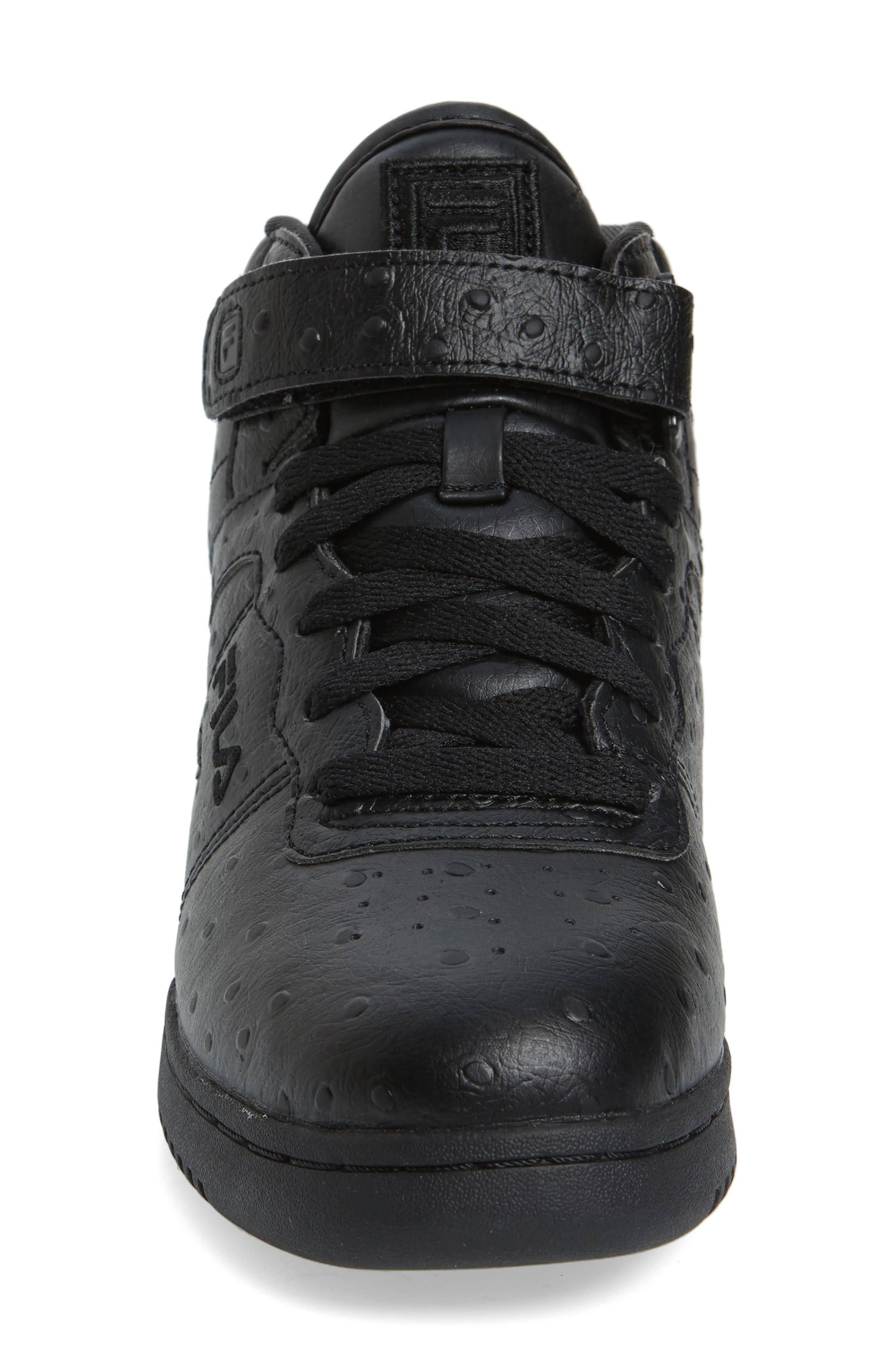 F-13 Ostrich Embossed High Top Sneaker,                             Alternate thumbnail 3, color,                             Triple Black