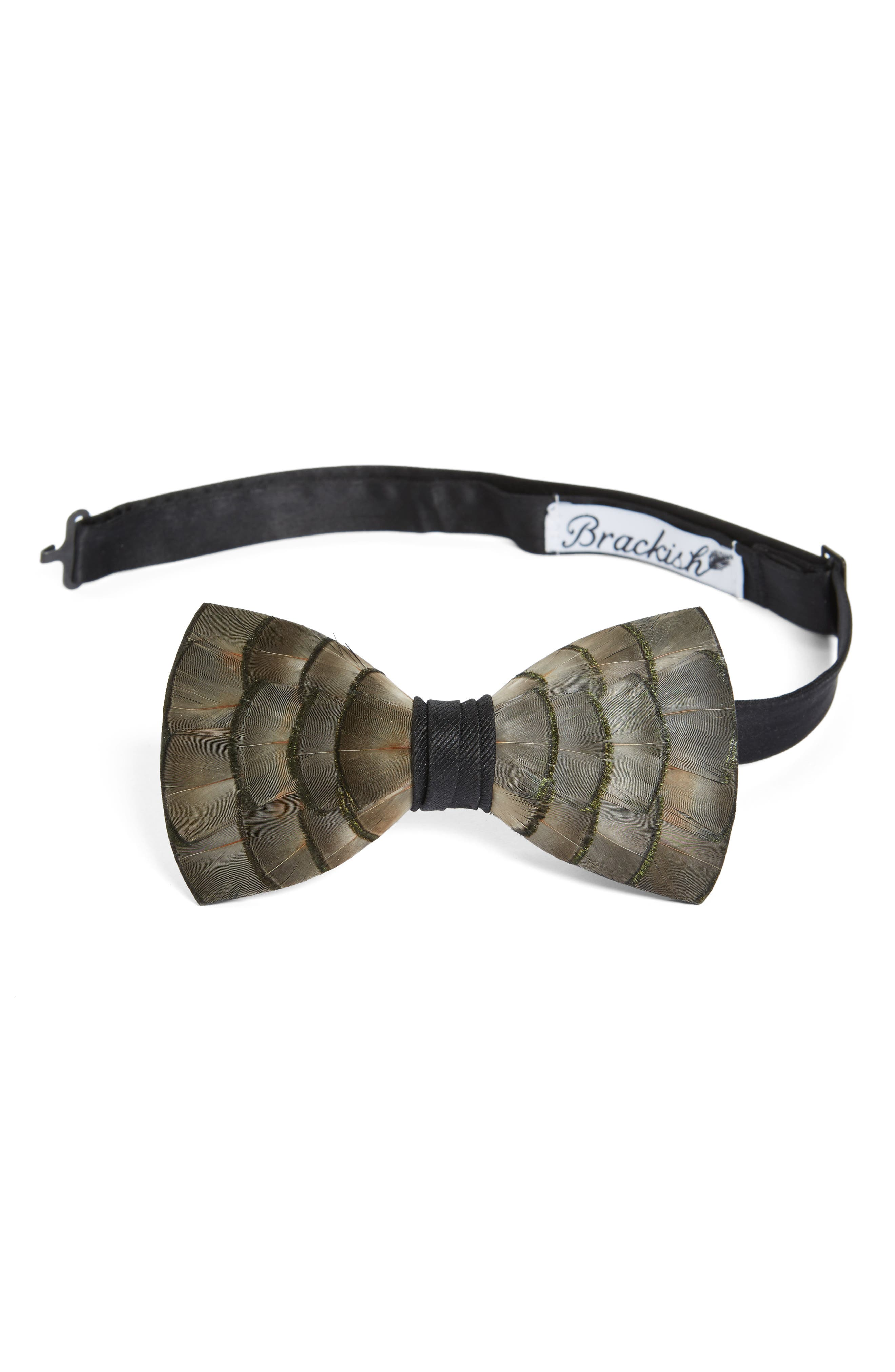 Main Image - Brackish & Bell Lynx Feather Bow Tie