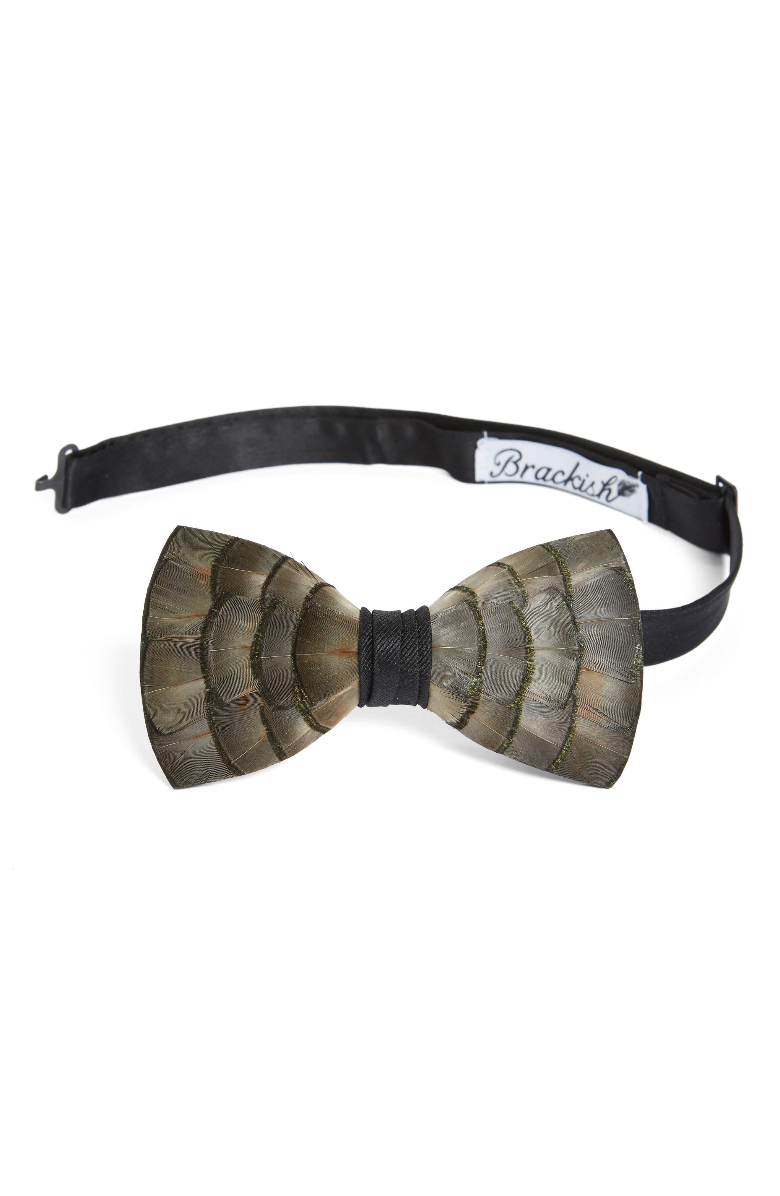 Brackish & Bell Lynx Feather Bow Tie,                         Main,                         color, Lynx Grey