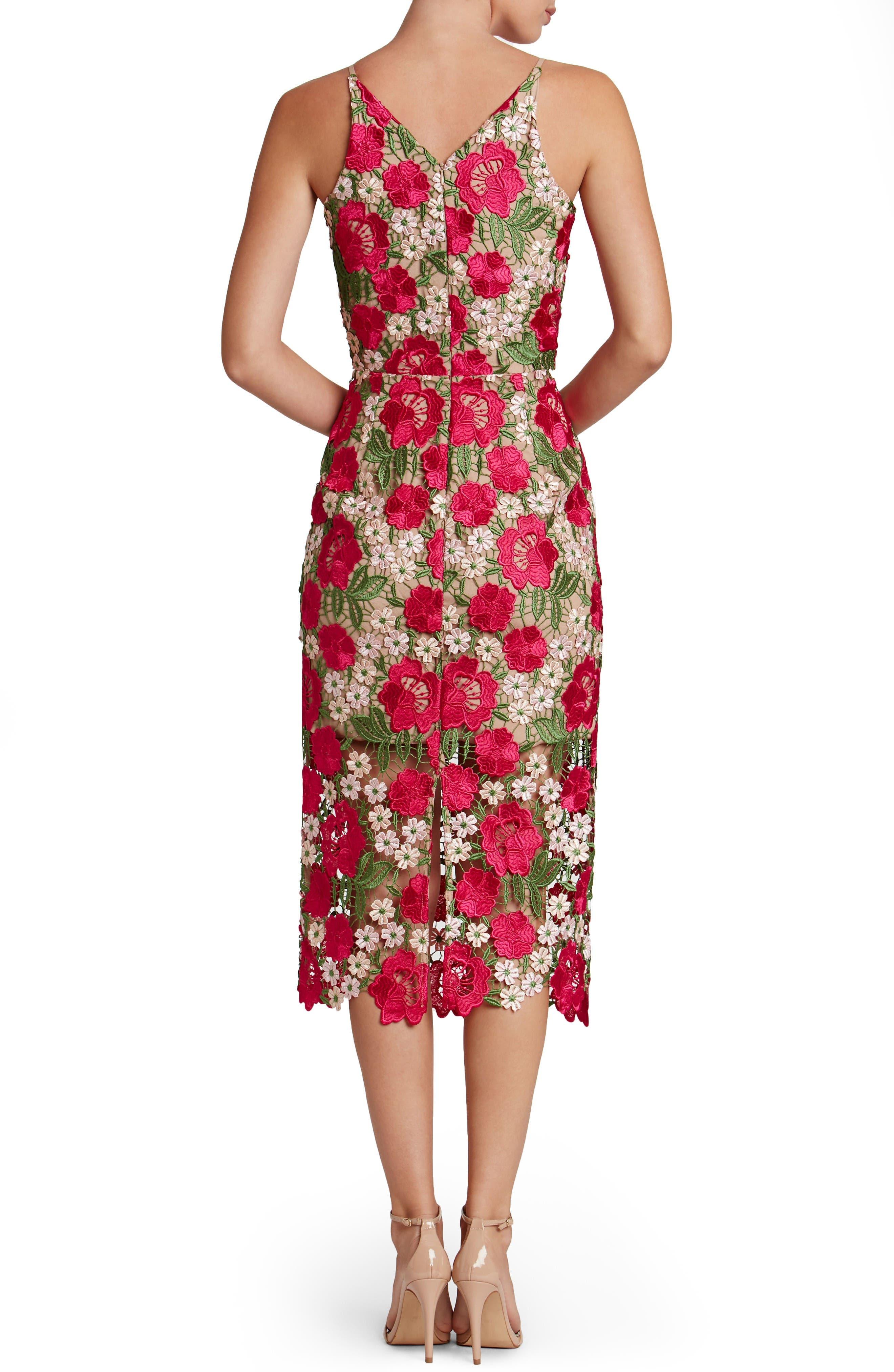 Alternate Image 2  - Dress the Population Aurora Floral Crochet Midi Dress (Nordstrom Exclusive)