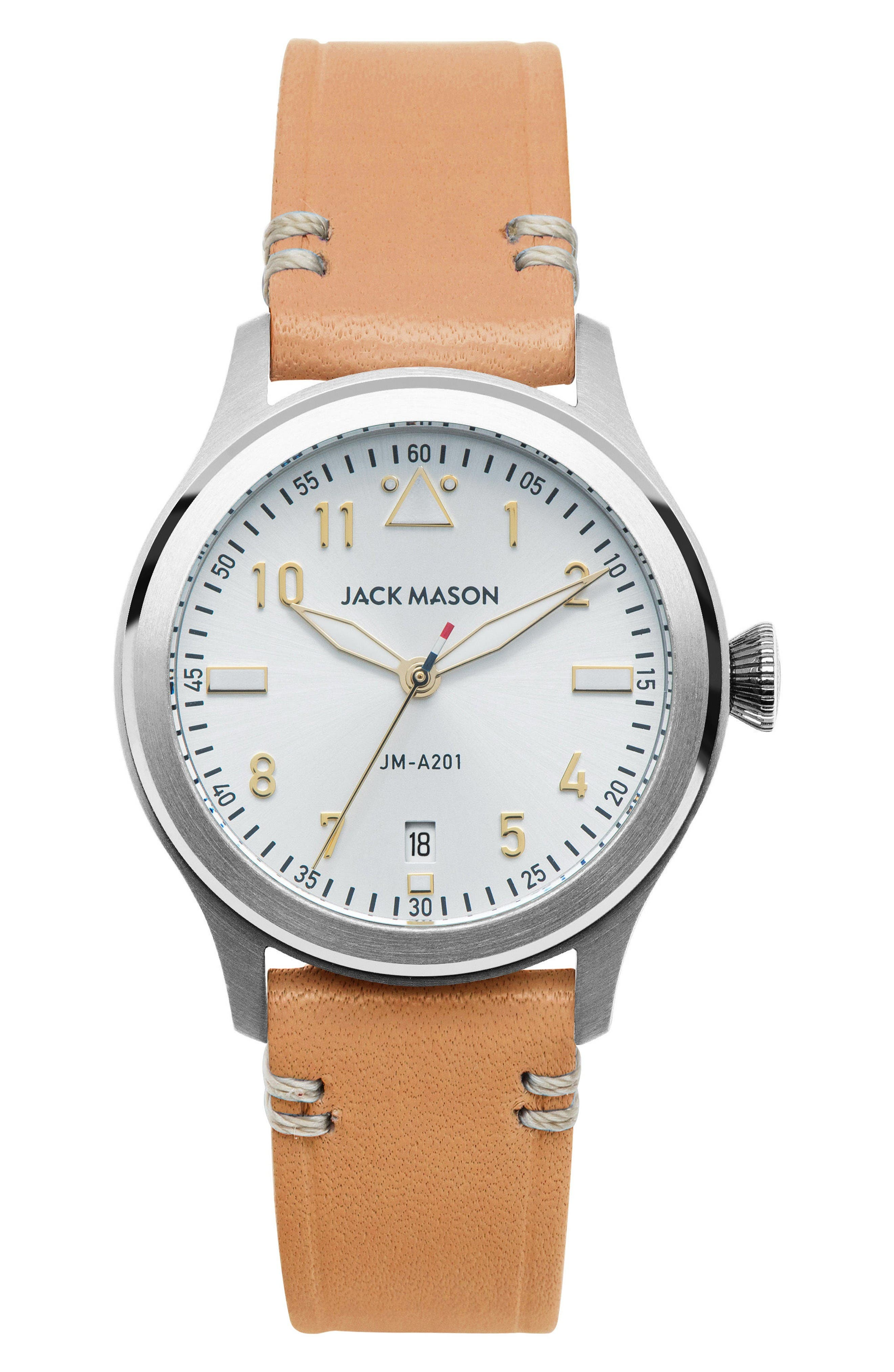 Aviation Leather Strap Watch, 36mm,                         Main,                         color, Camel/ White/ Silver