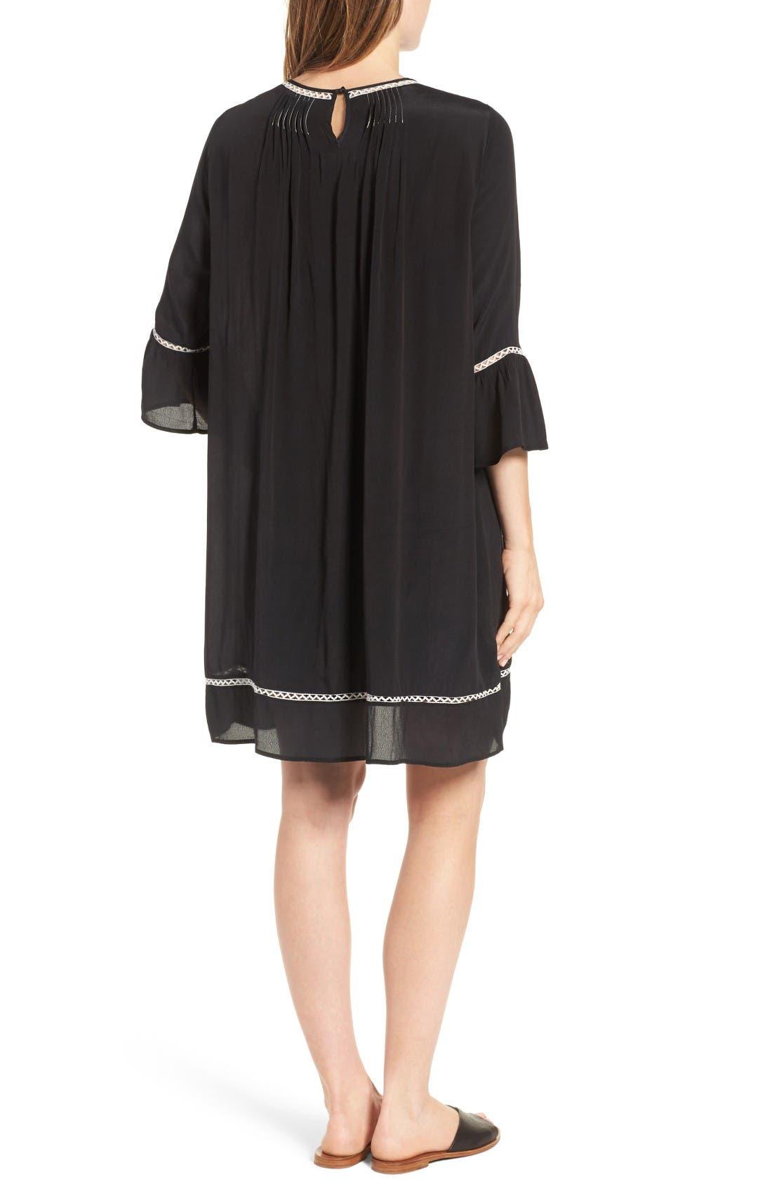 Pintuck Pleat Lantern Sleeve Babydoll Dress,                             Alternate thumbnail 2, color,                             Vintage Black