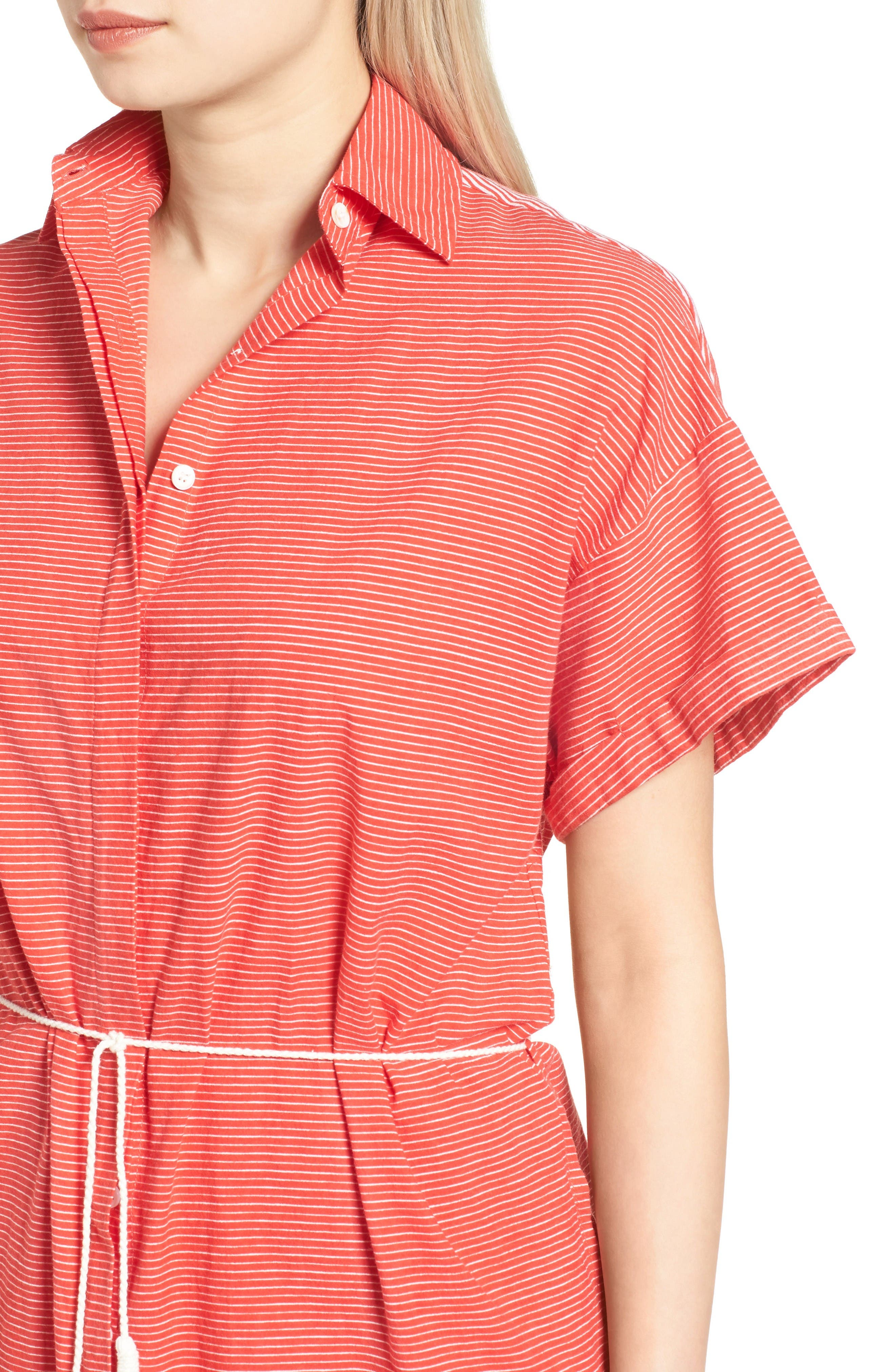 Avalon Cotton Shirtdress,                             Alternate thumbnail 5, color,                             Deep Sea Print Red