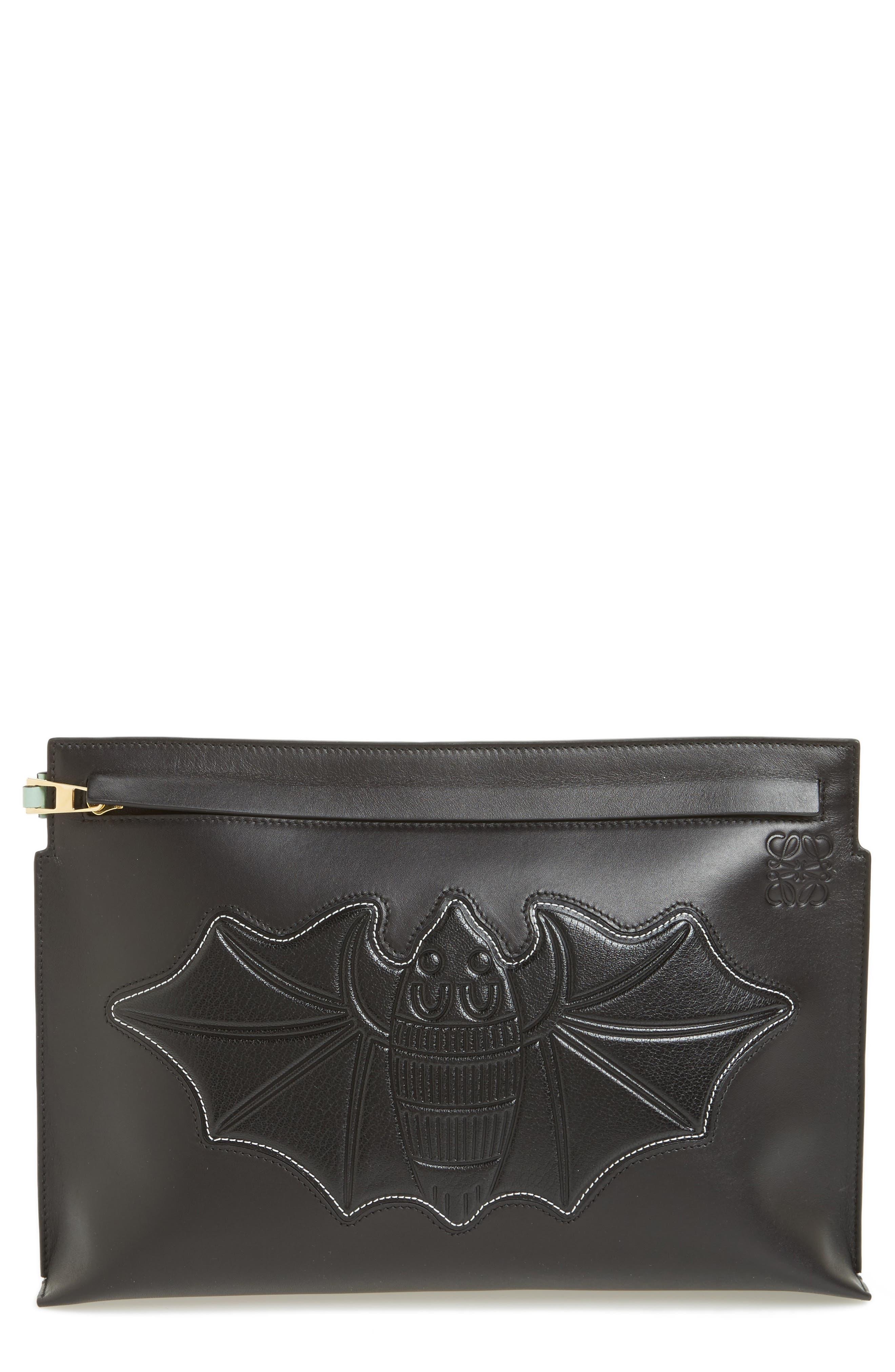 Embossed Bat Clutch,                             Main thumbnail 1, color,                             Black