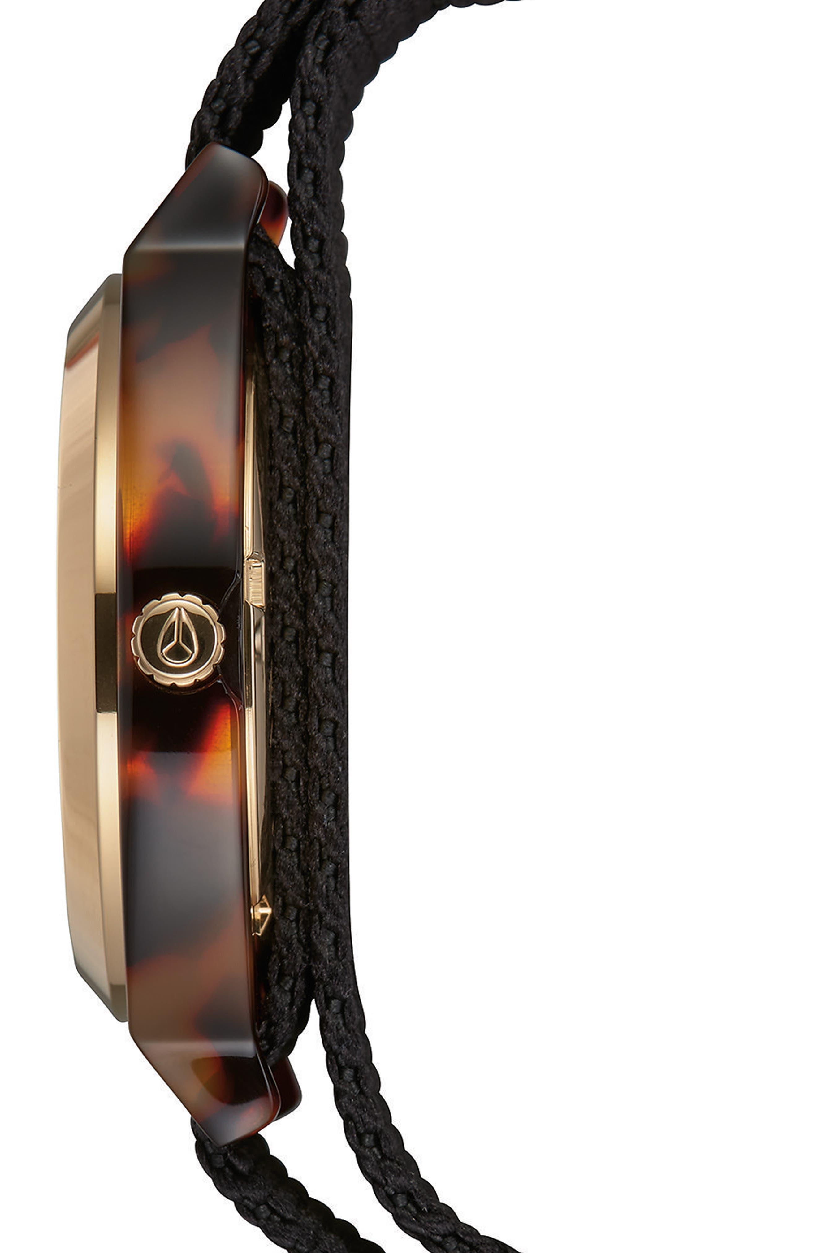 Time Teller Nylon Strap Watch, 40mm,                             Alternate thumbnail 3, color,                             Black/ Tortoise Acetate