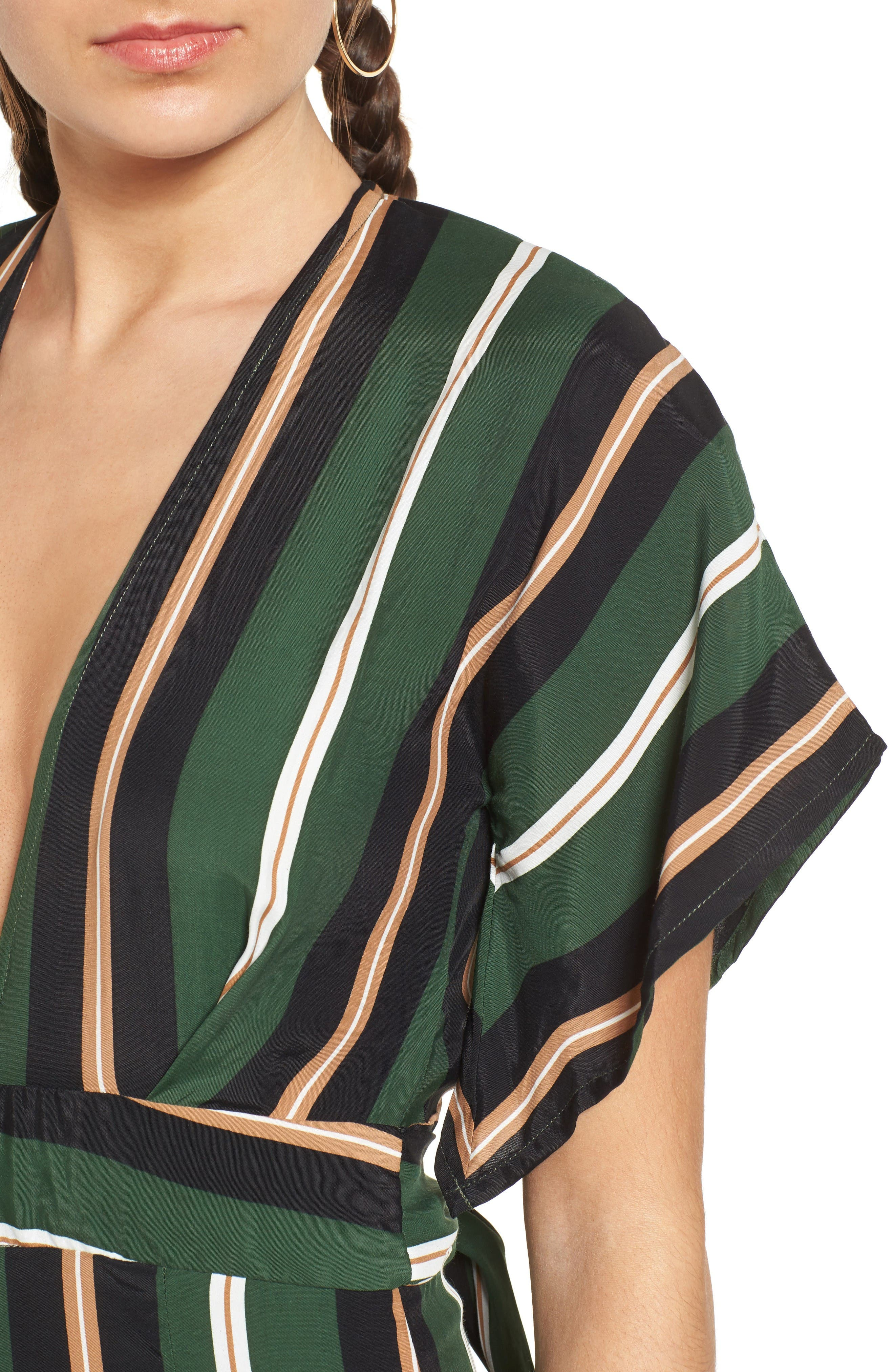 Cedric Jumpsuit,                             Alternate thumbnail 5, color,                             Firenze Stripes Green/Blk