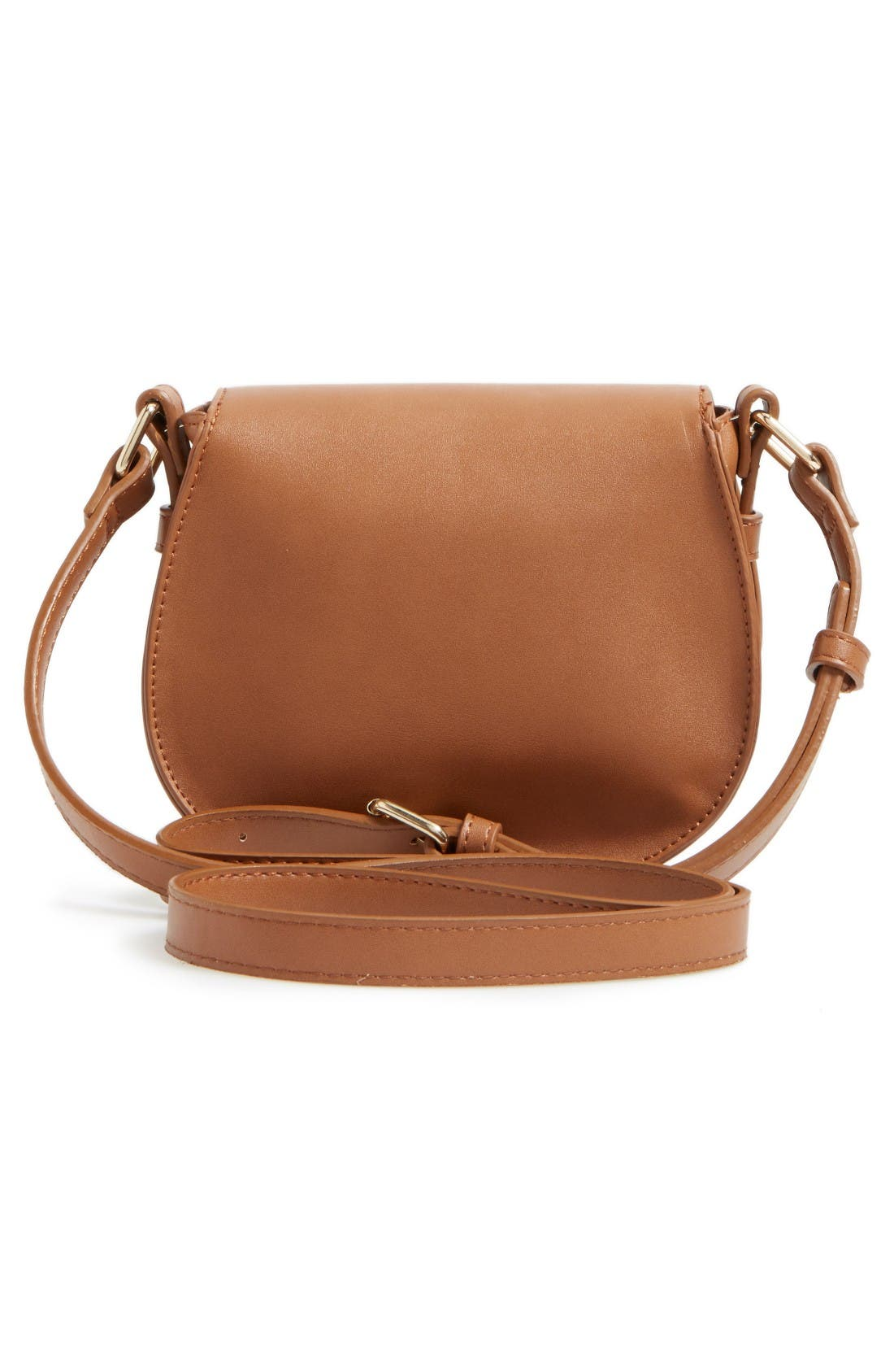 Faux Leather Small Saddle Crossbody Bag,                             Alternate thumbnail 3, color,                             Tan