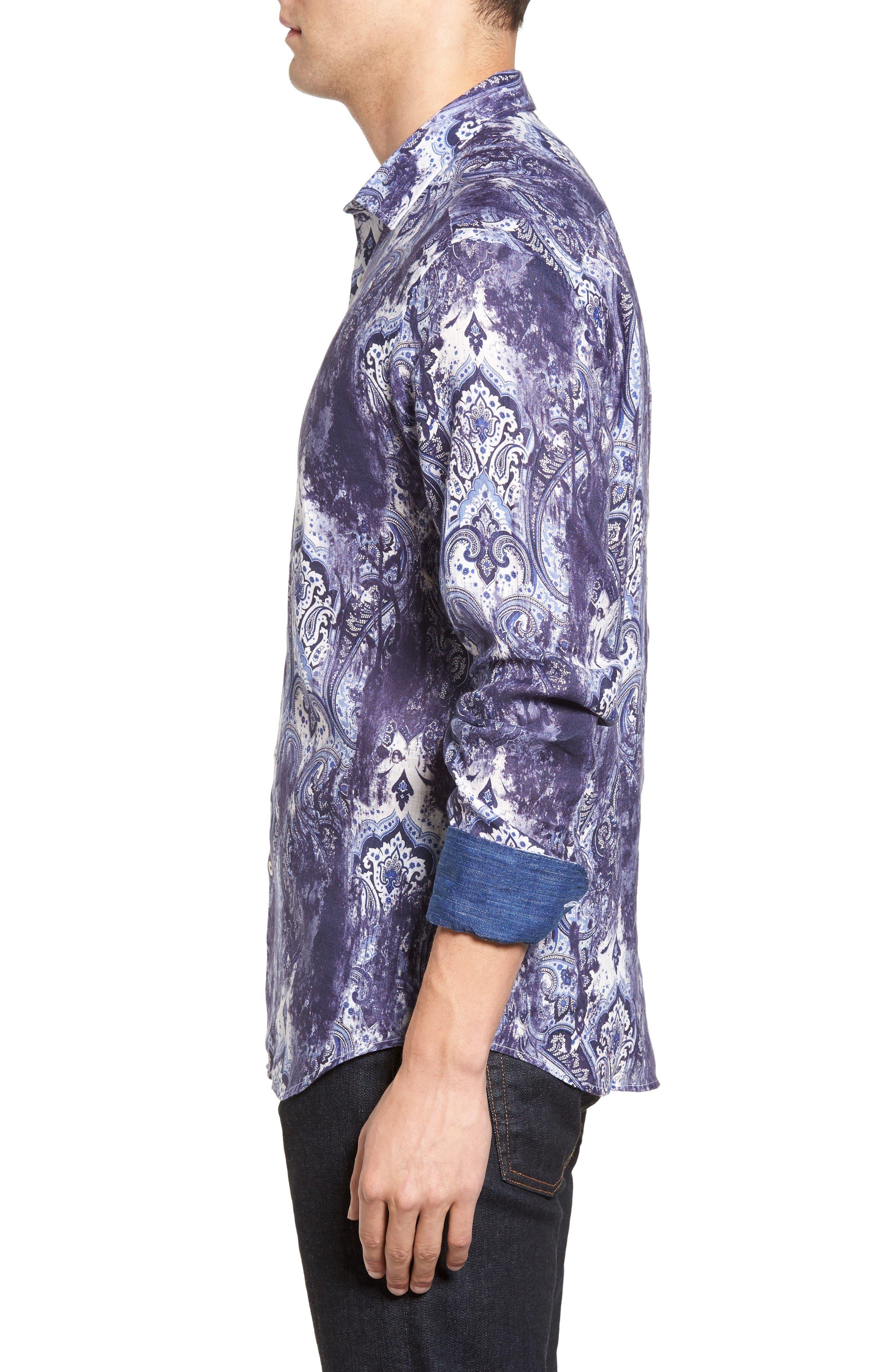 Alternate Image 3  - Bugatchi Shaped Fit Paisley Print Linen Sport Shirt