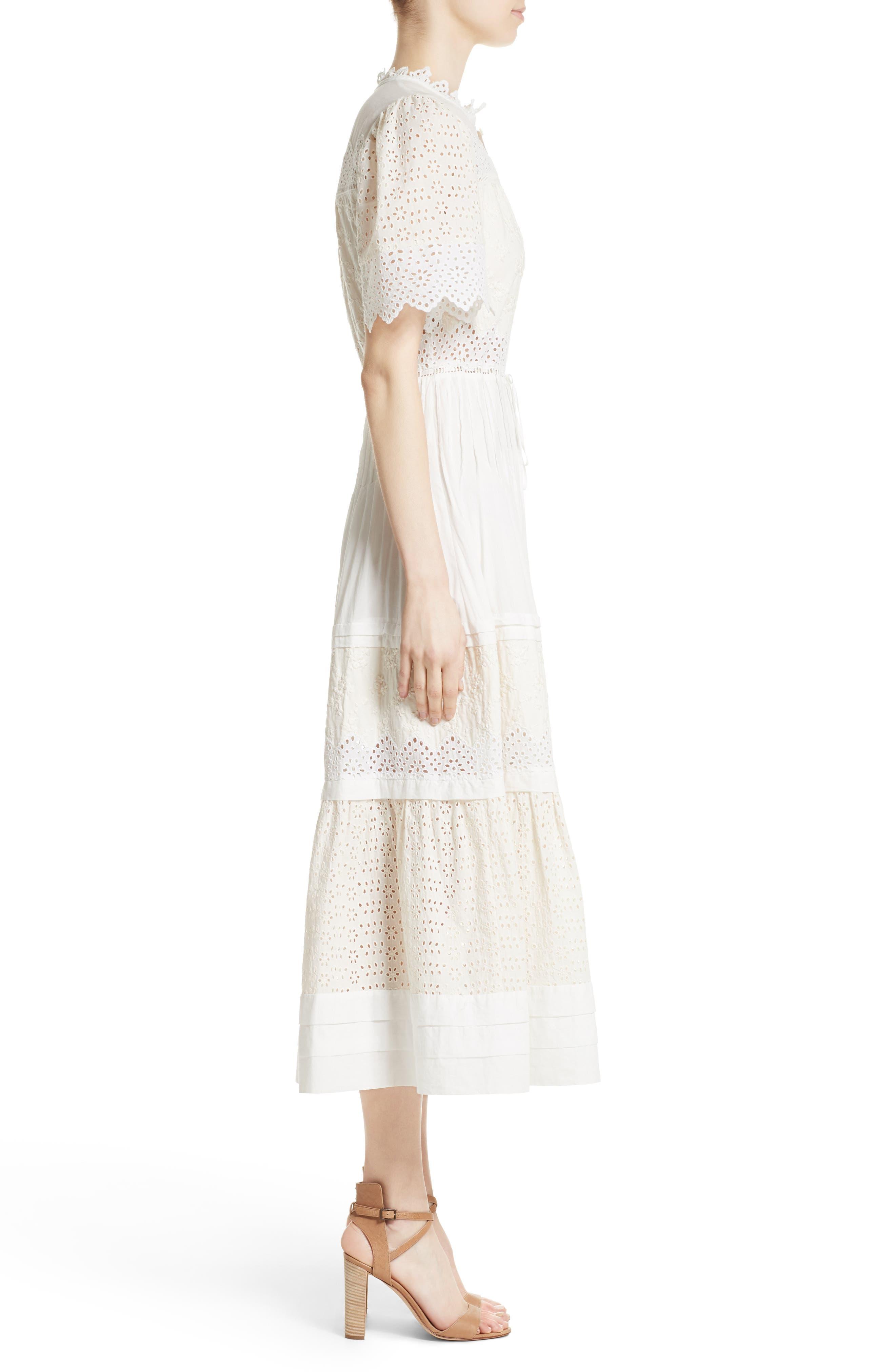 Alternate Image 4  - La Vie Rebecca Taylor Embroidered Voile Midi Dress