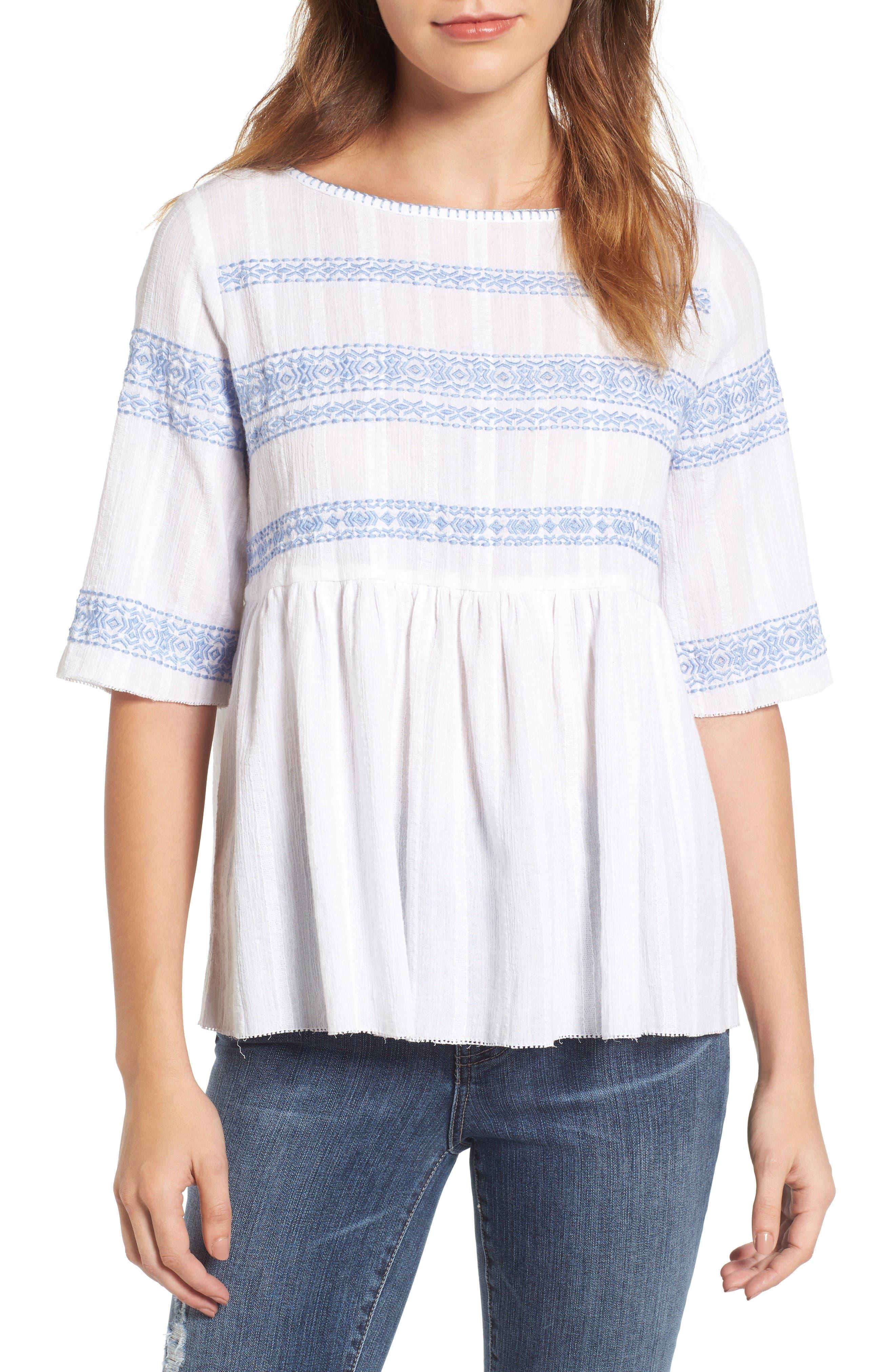 Alternate Image 1 Selected - Caslon® Embroidered Babydoll Top (Regular & Petite)