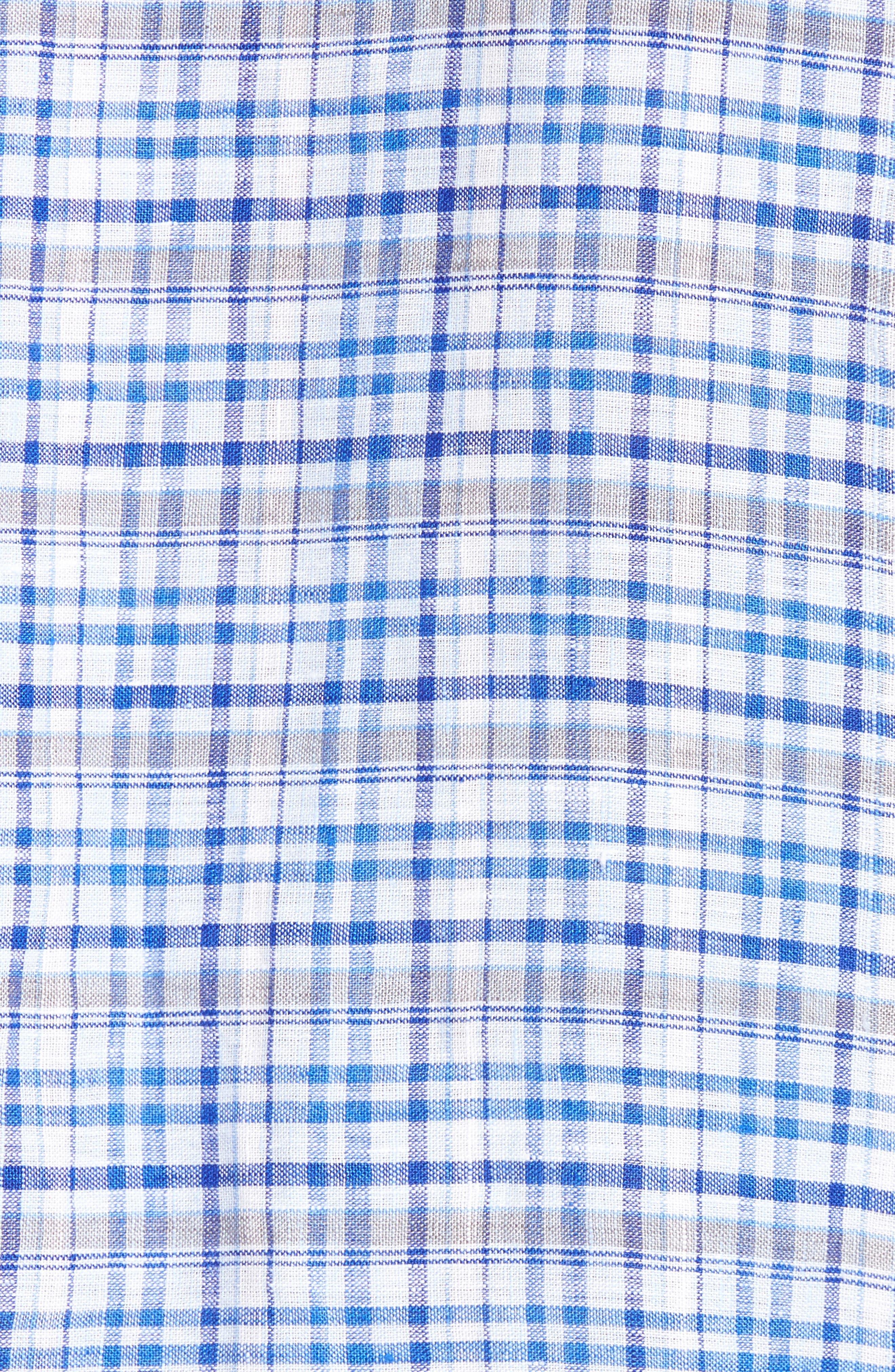 Bean Trim Fit Plaid Linen Sport Shirt,                             Alternate thumbnail 5, color,                             Royal