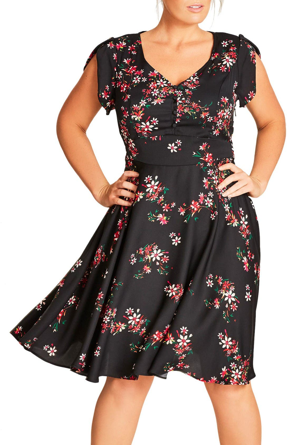 Main Image - City Chic Delicate Flower Dress (Plus Size)