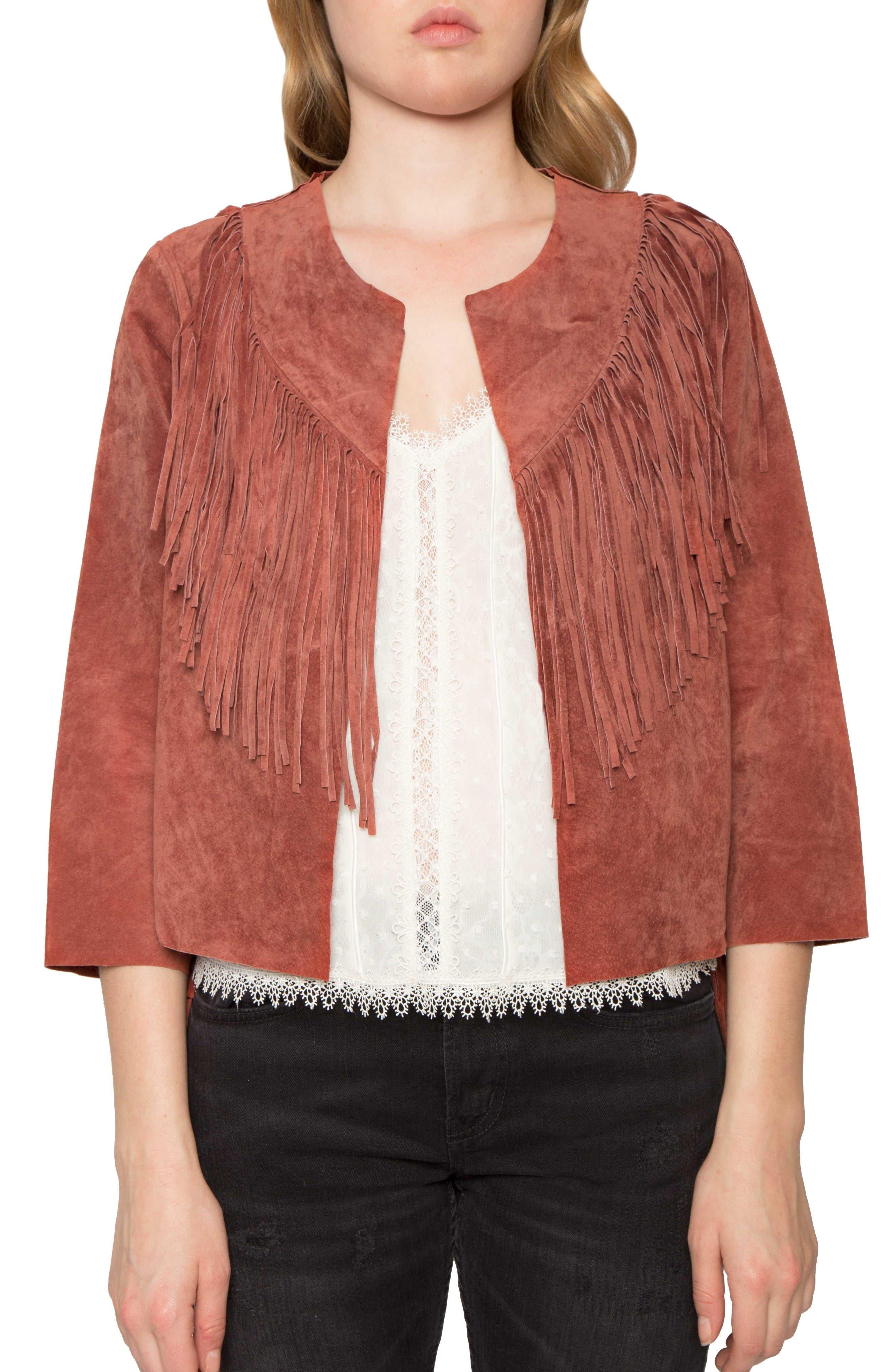 Crop Fringe Suede Jacket,                         Main,                         color, Sienna