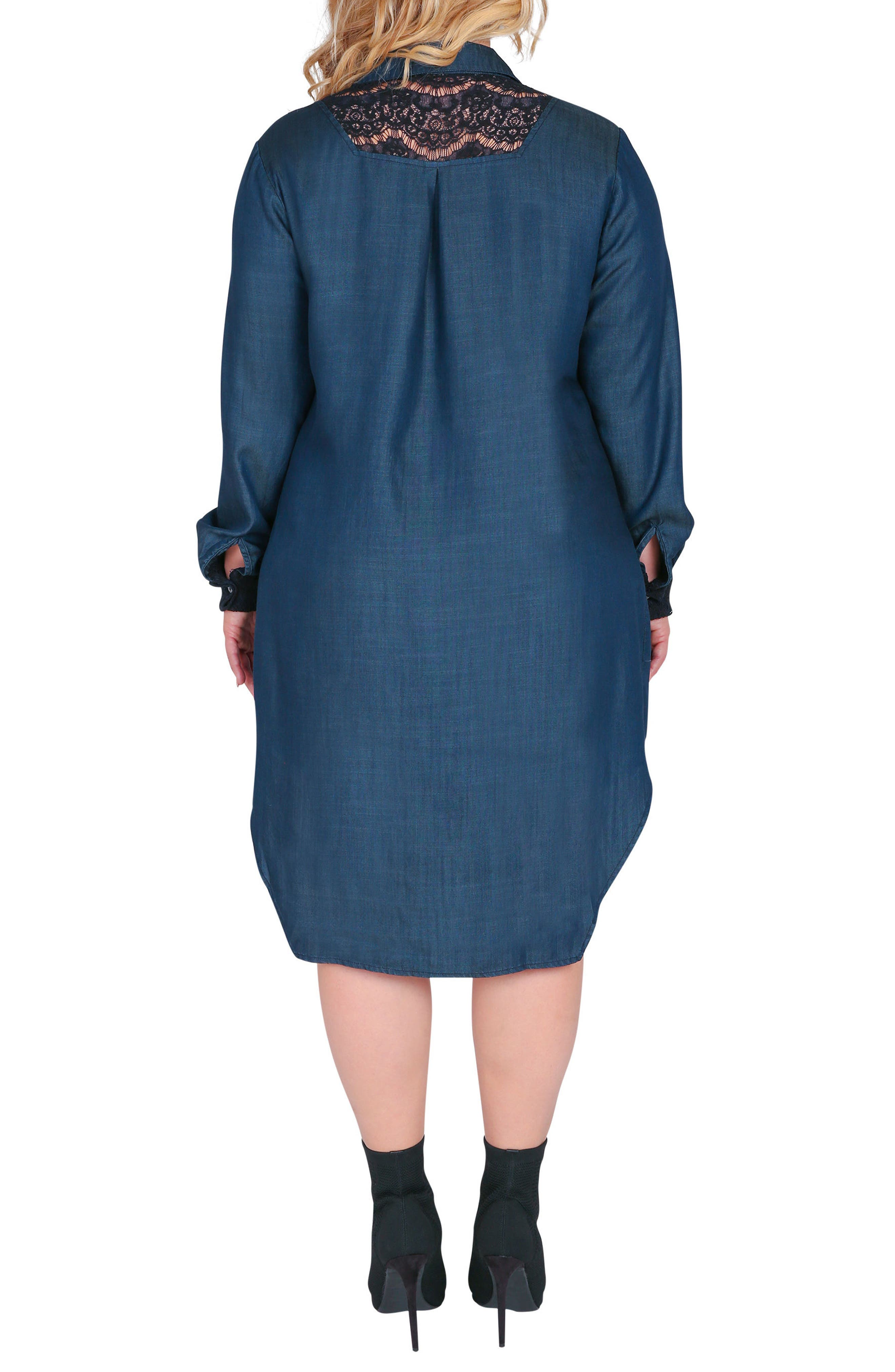 Alternate Image 2  - Standards & Practices Felicity Lace Trim Denim Shirtdress (Plus Size)