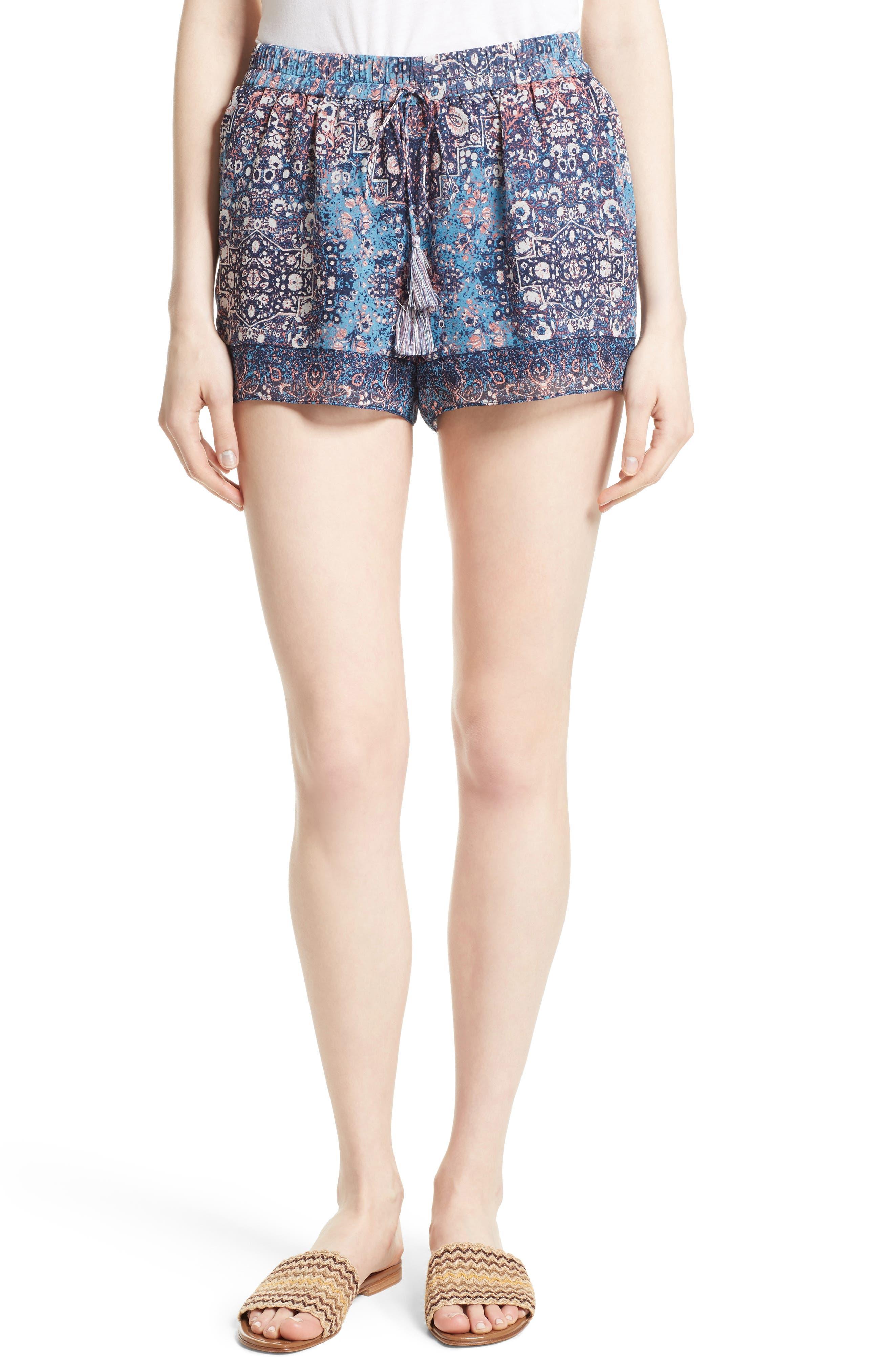 Joie Lindee Print Silk Shorts