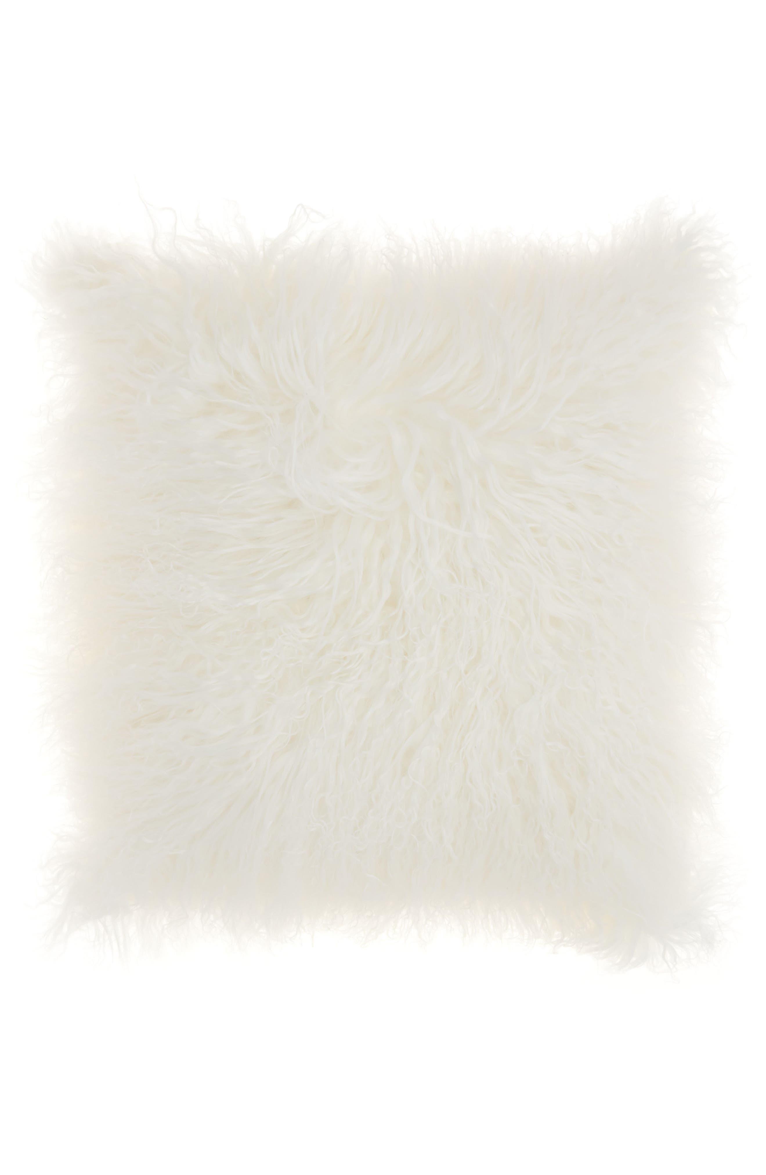 Genuine Tibetan Wool Shearling Pillow,                         Main,                         color, Beige