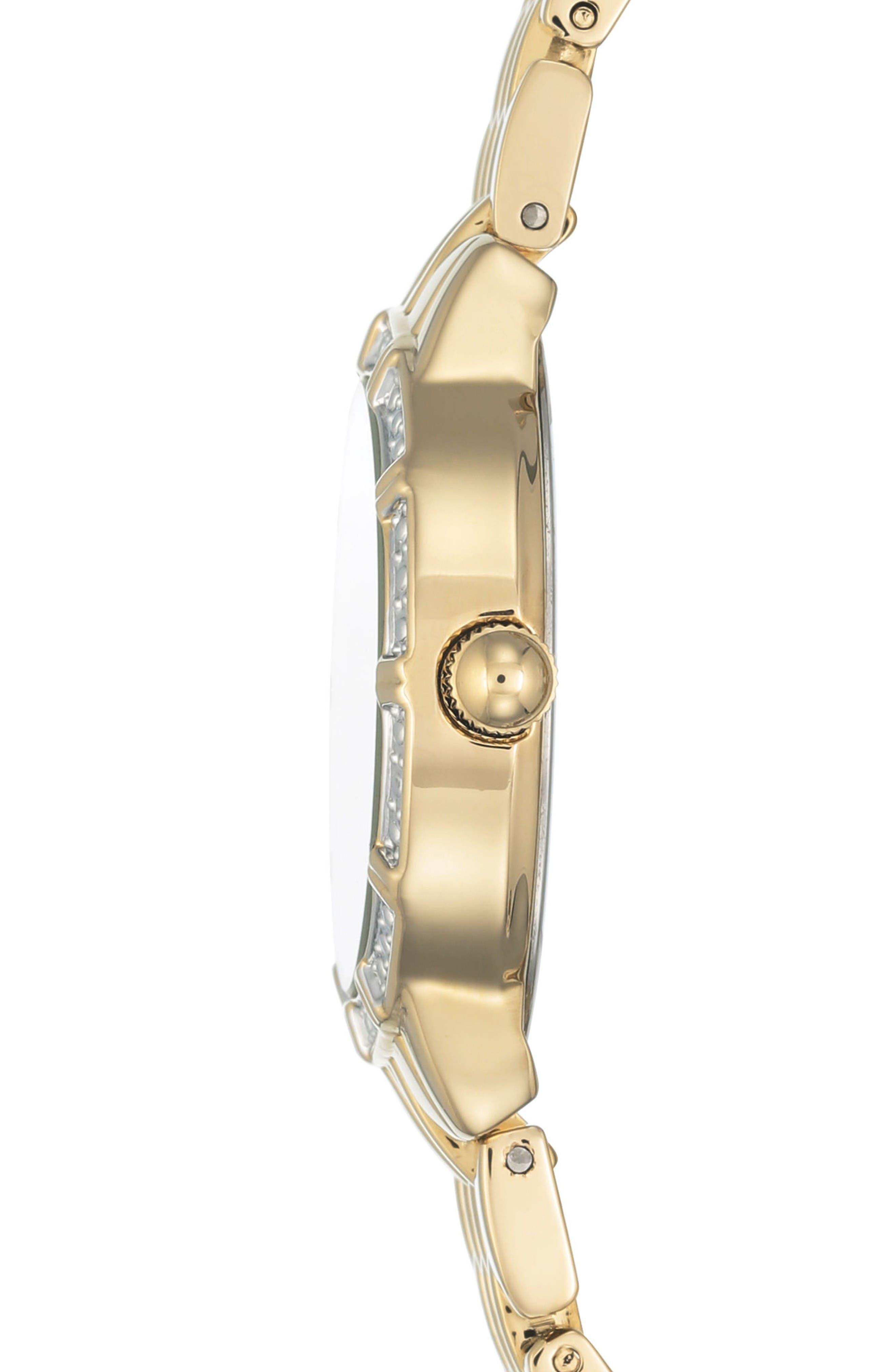 Oval Diamond Bracelet Watch, 28mm,                             Alternate thumbnail 2, color,                             Gold/ White/ Gold