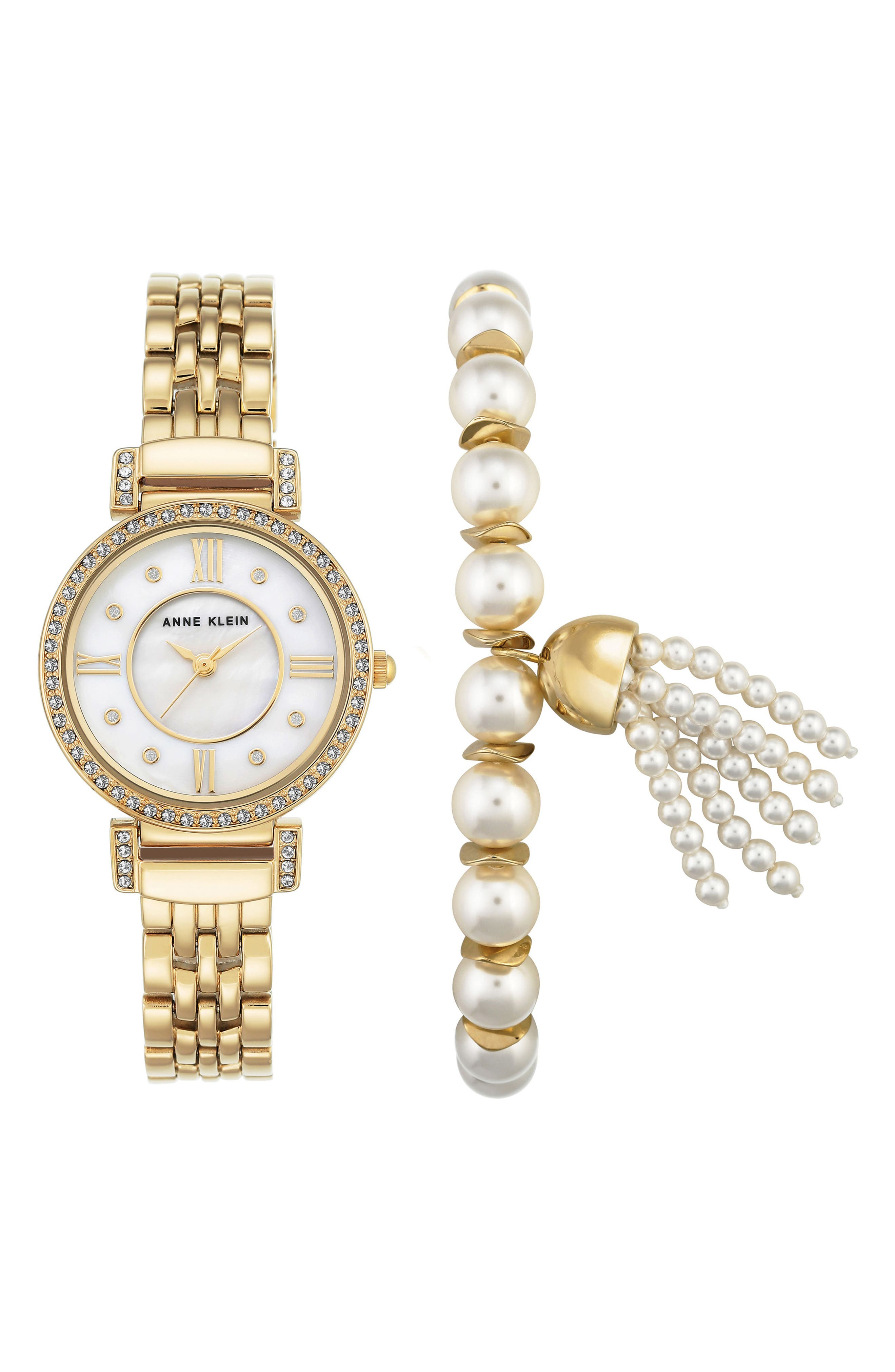 Crystal Watch & Tassel Bracelet Set,                             Main thumbnail 1, color,                             Gold