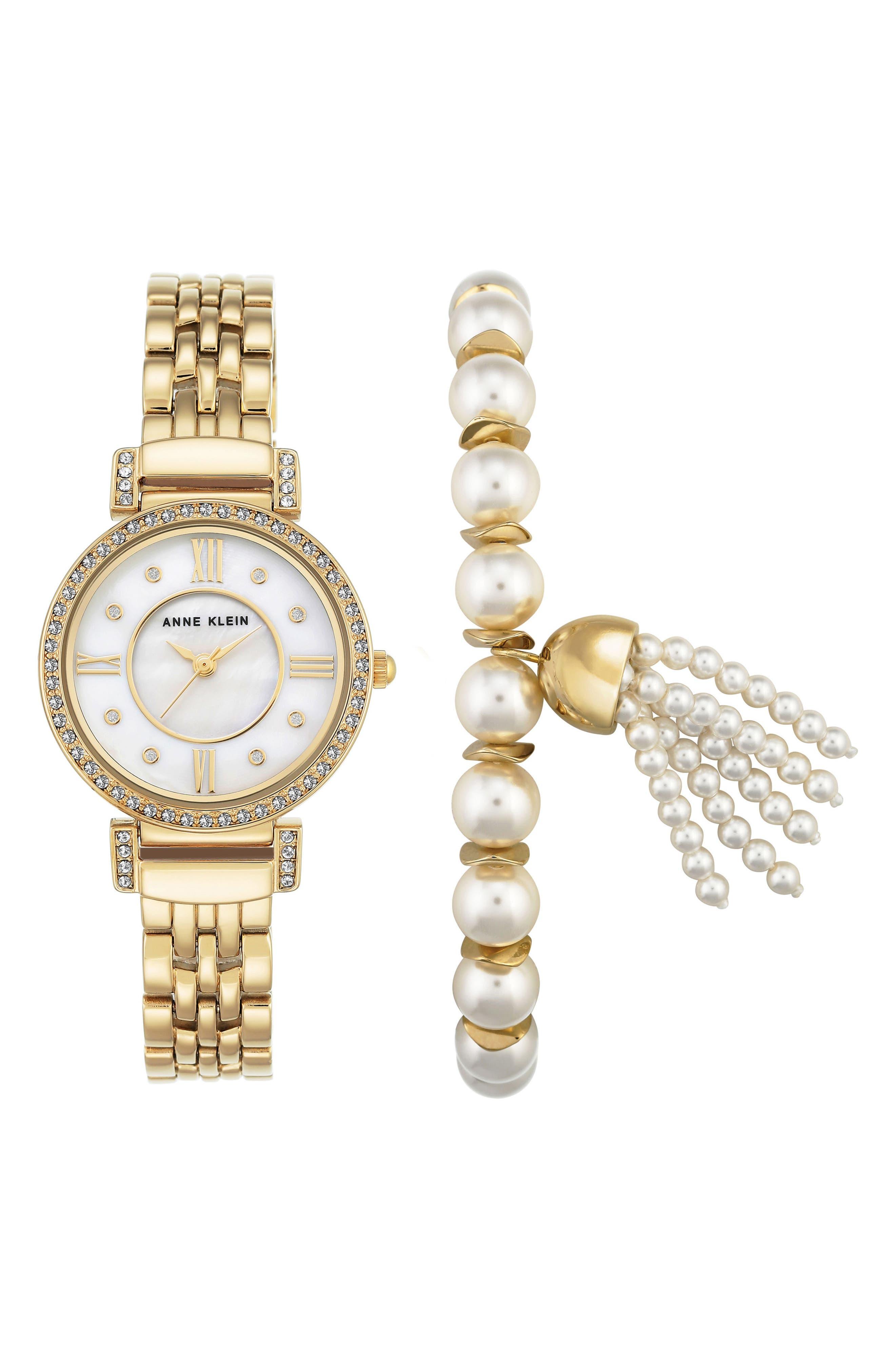 Crystal Watch & Tassel Bracelet Set,                         Main,                         color, Gold
