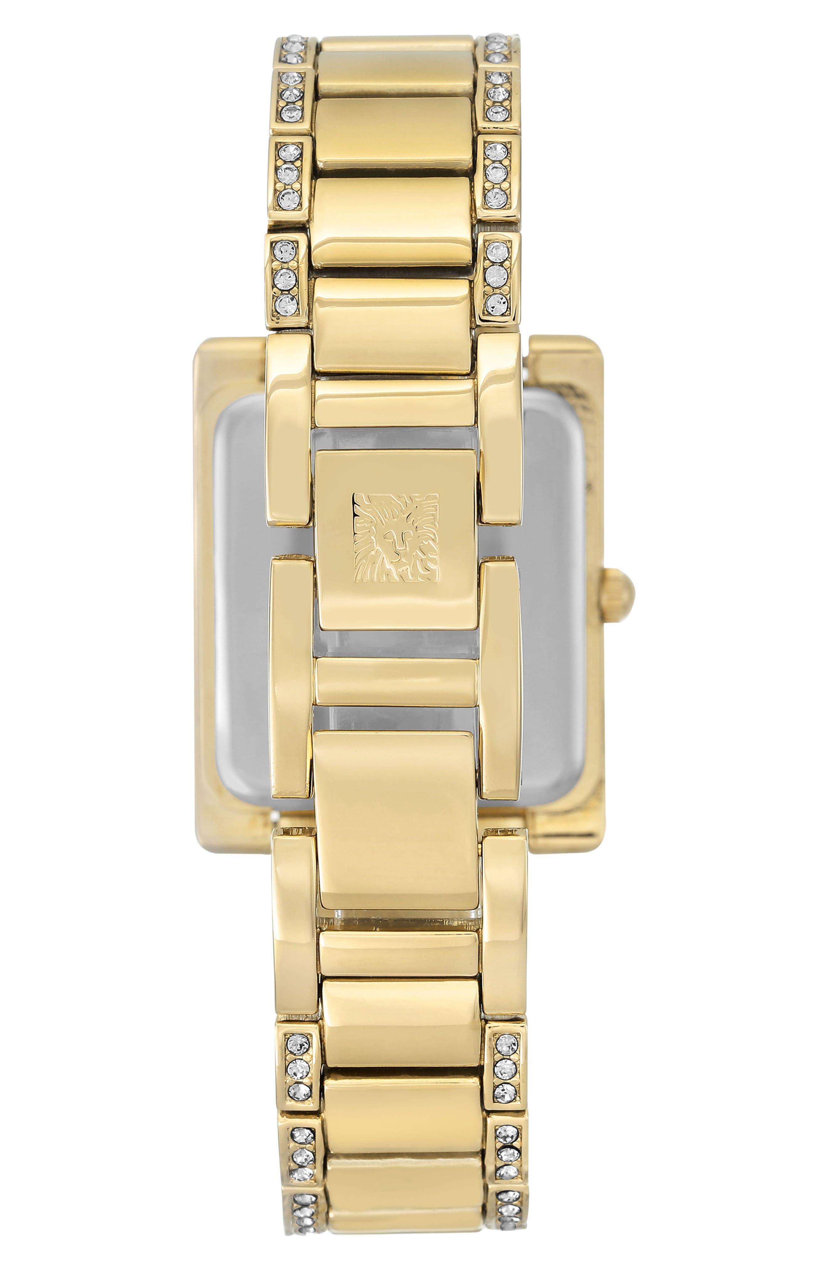 Crystal Bracelet Watch, 28mm x 35mm,                             Alternate thumbnail 2, color,                             Gold