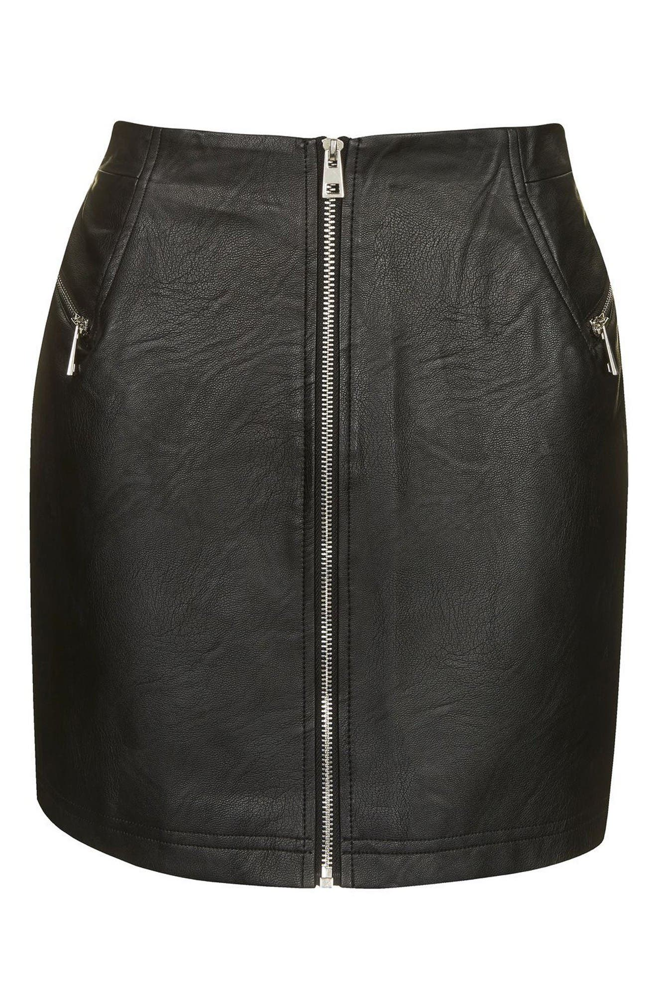 Alternate Image 5  - Topshop Zip Faux Leather Miniskirt