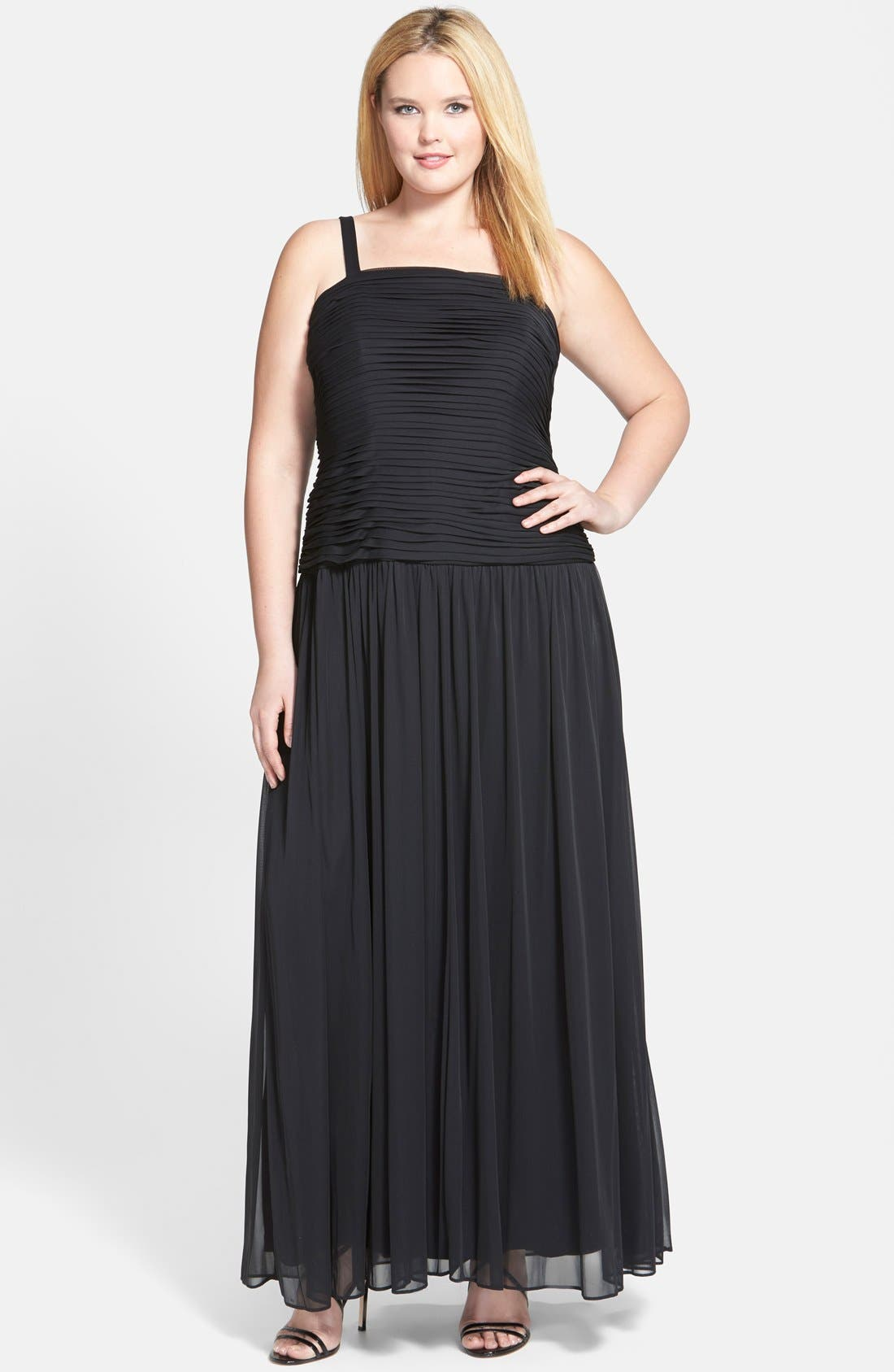 Alternate Image 3  - Adrianna Papell Pleat Bodice Tulle Gown & Shrug (Plus Size)
