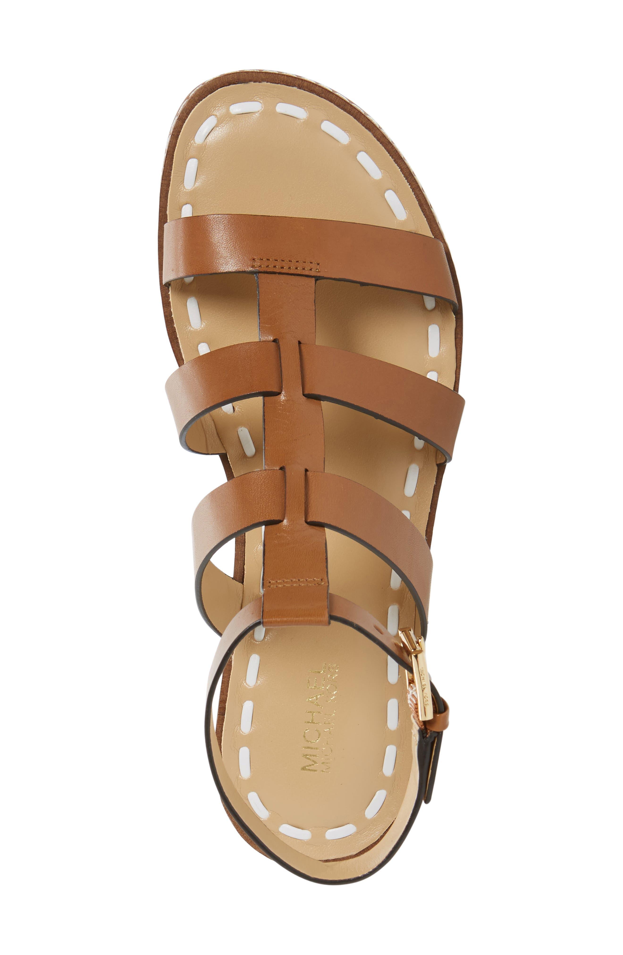 Fallon Gladiator Sandal,                             Alternate thumbnail 5, color,                             Acorn/ White Leather