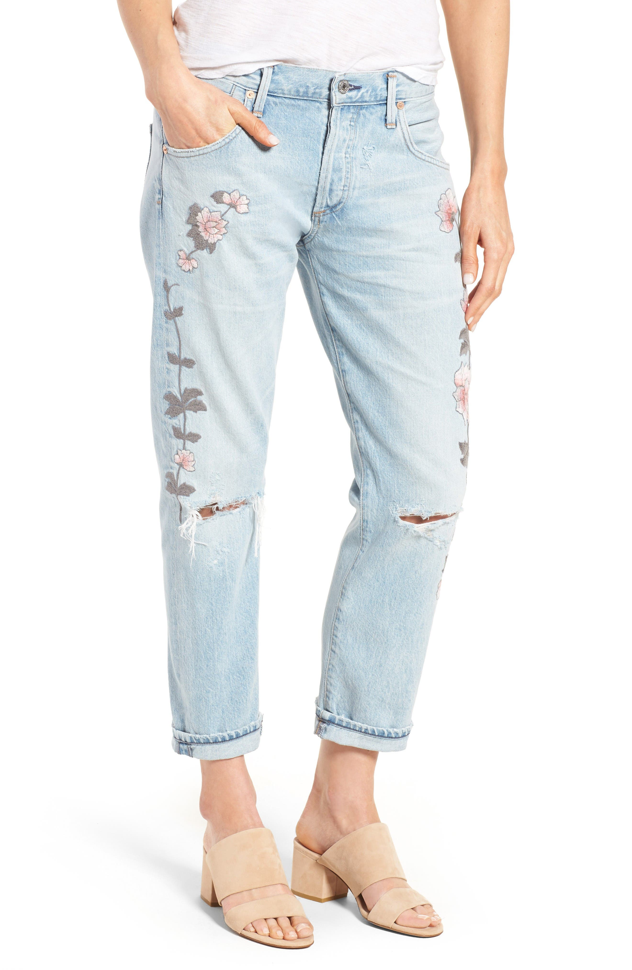 Emerson Slim Boyfriend Jeans,                         Main,                         color, Distressed Rock On Roses