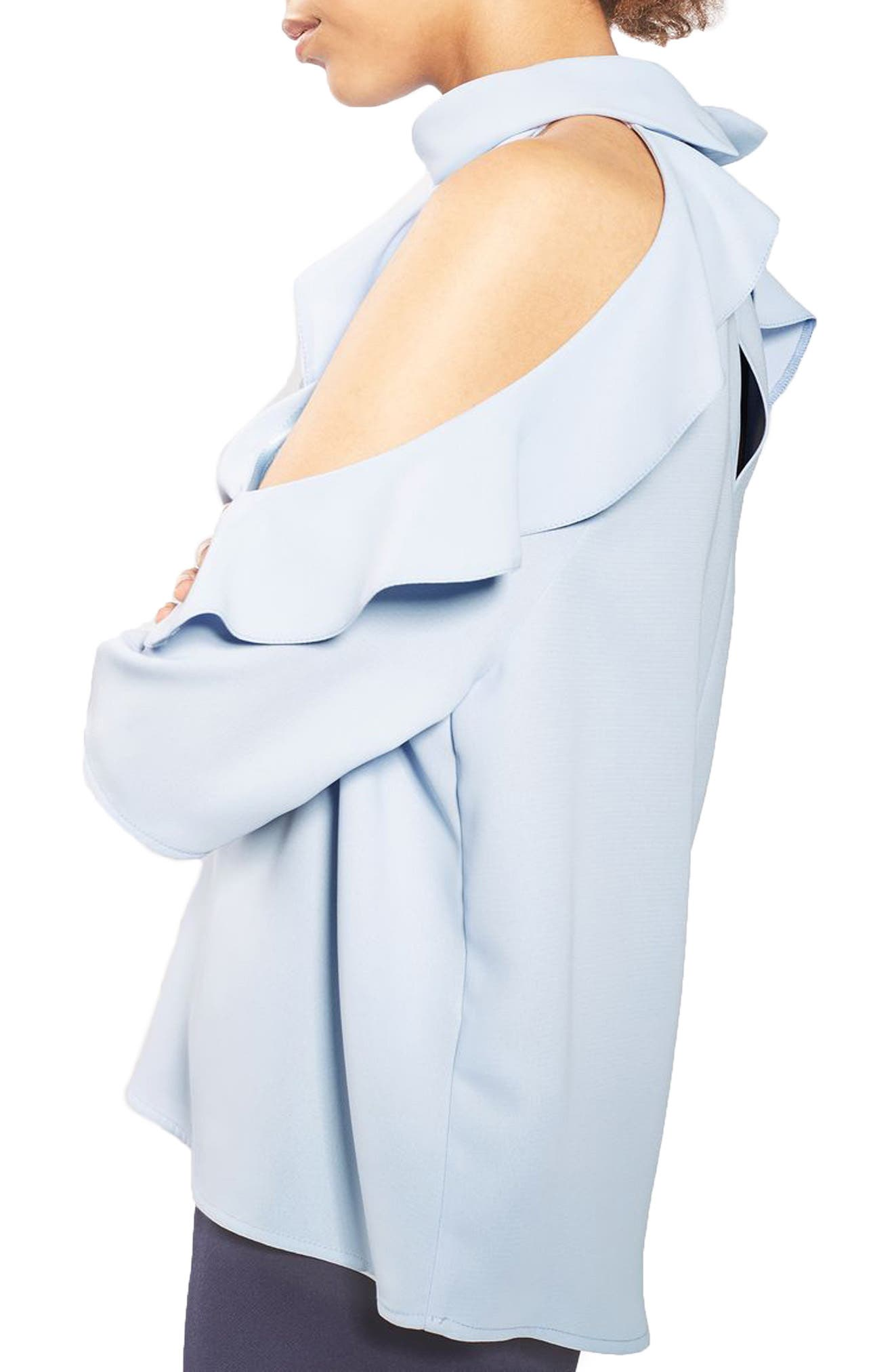 Alternate Image 4  - Topshop Ruffle Cold Shoulder Top