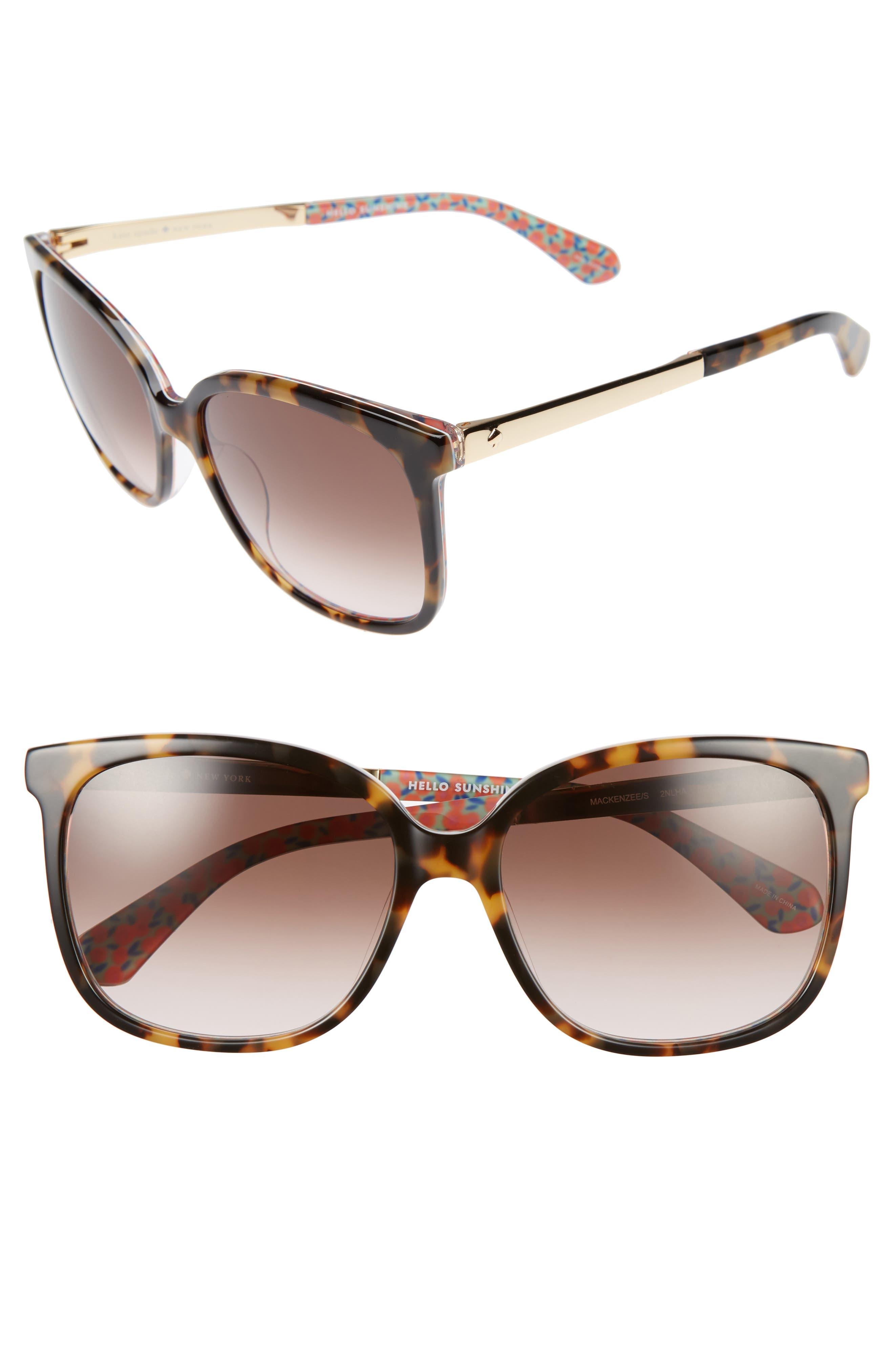 mackenzee 57mm sunglasses,                         Main,                         color, Havana/ Pattern Green