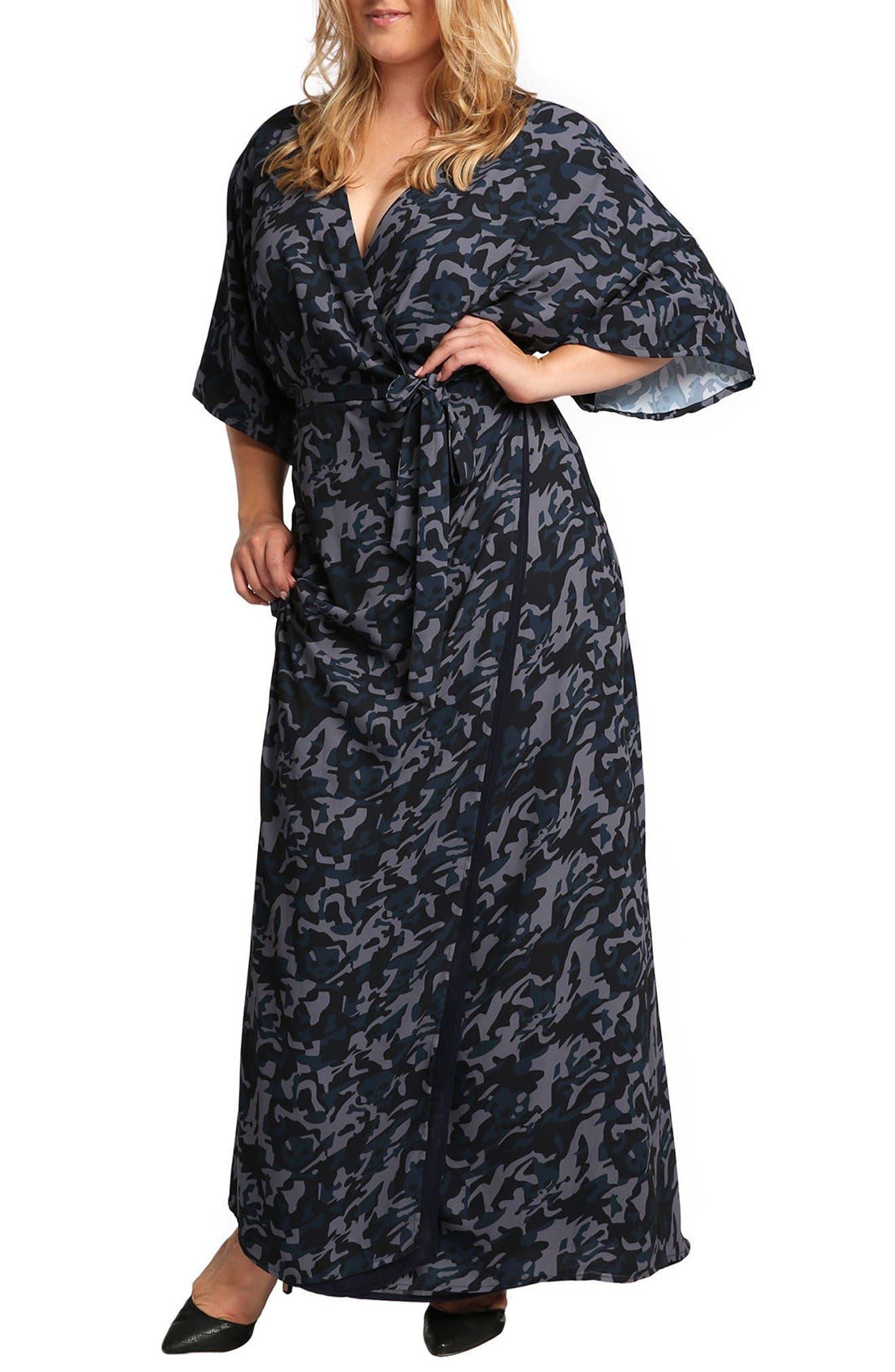 Olivia Wrap Kimono Maxi Dress,                         Main,                         color, Midnight Camo