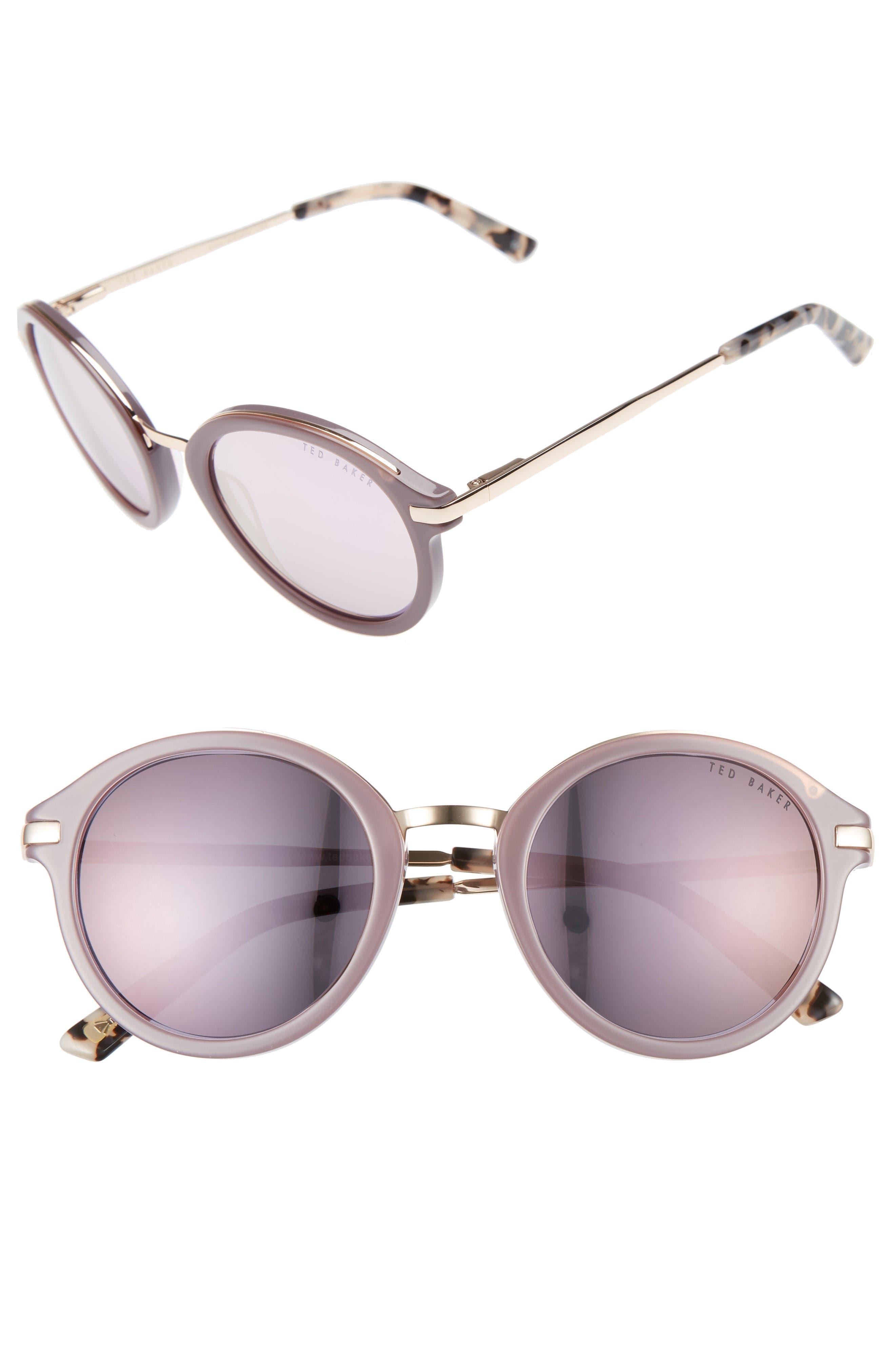 49mm Round Sunglasses,                             Main thumbnail 1, color,                             Grey