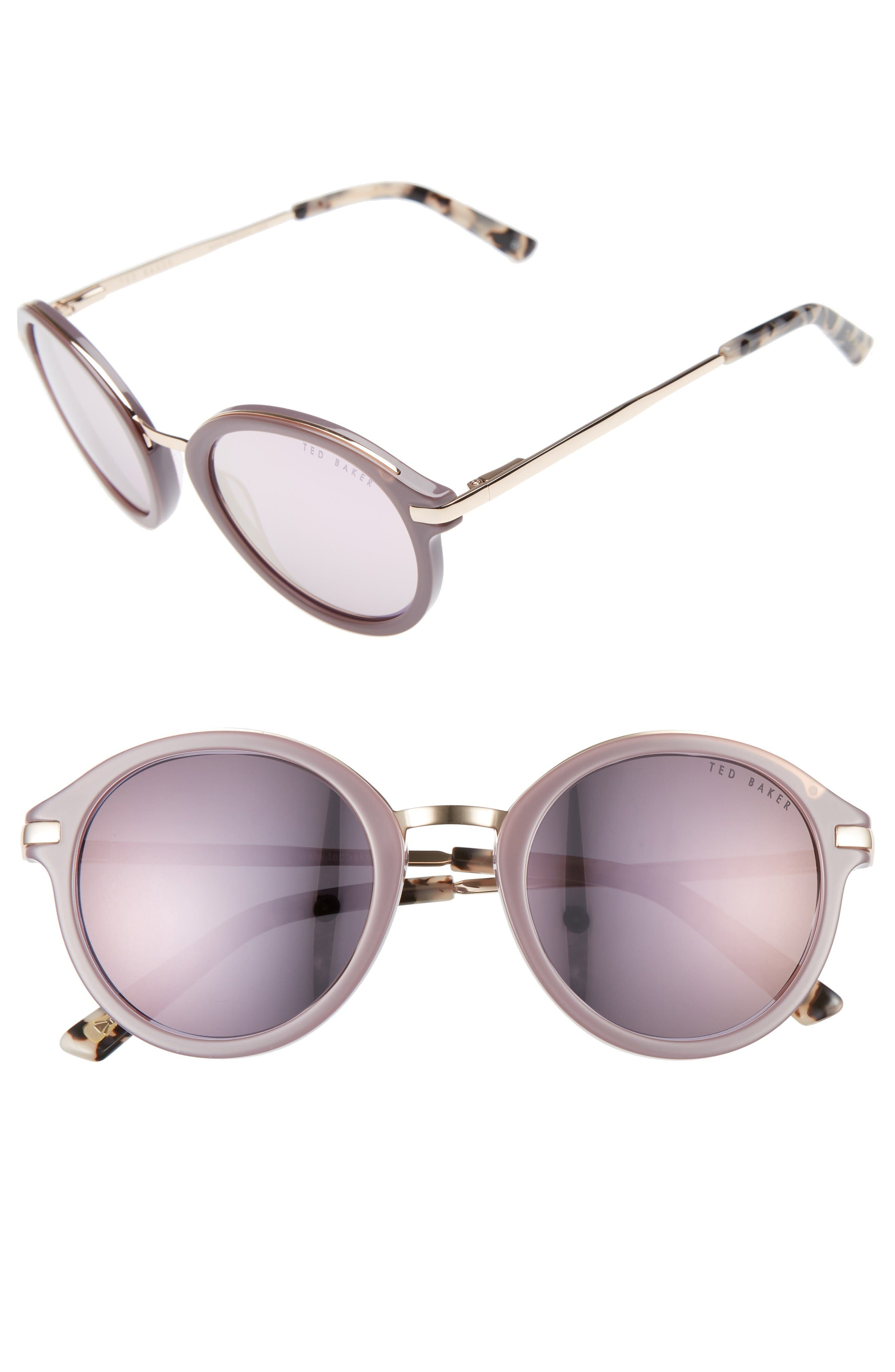 49mm Round Sunglasses,                         Main,                         color, Grey