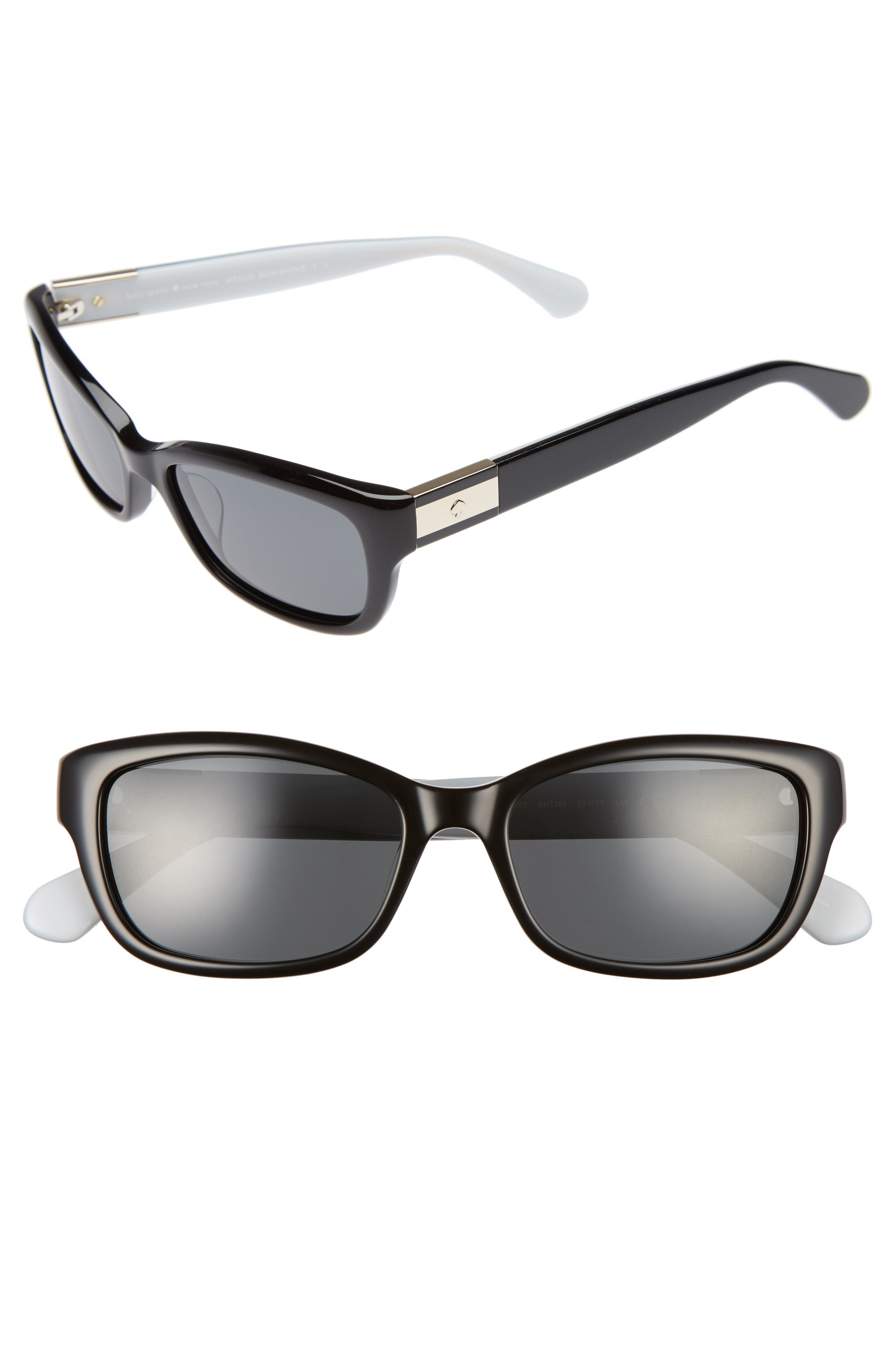 marilee 53mm Polarized Sunglasses,                             Main thumbnail 1, color,                             Black/ Ivory