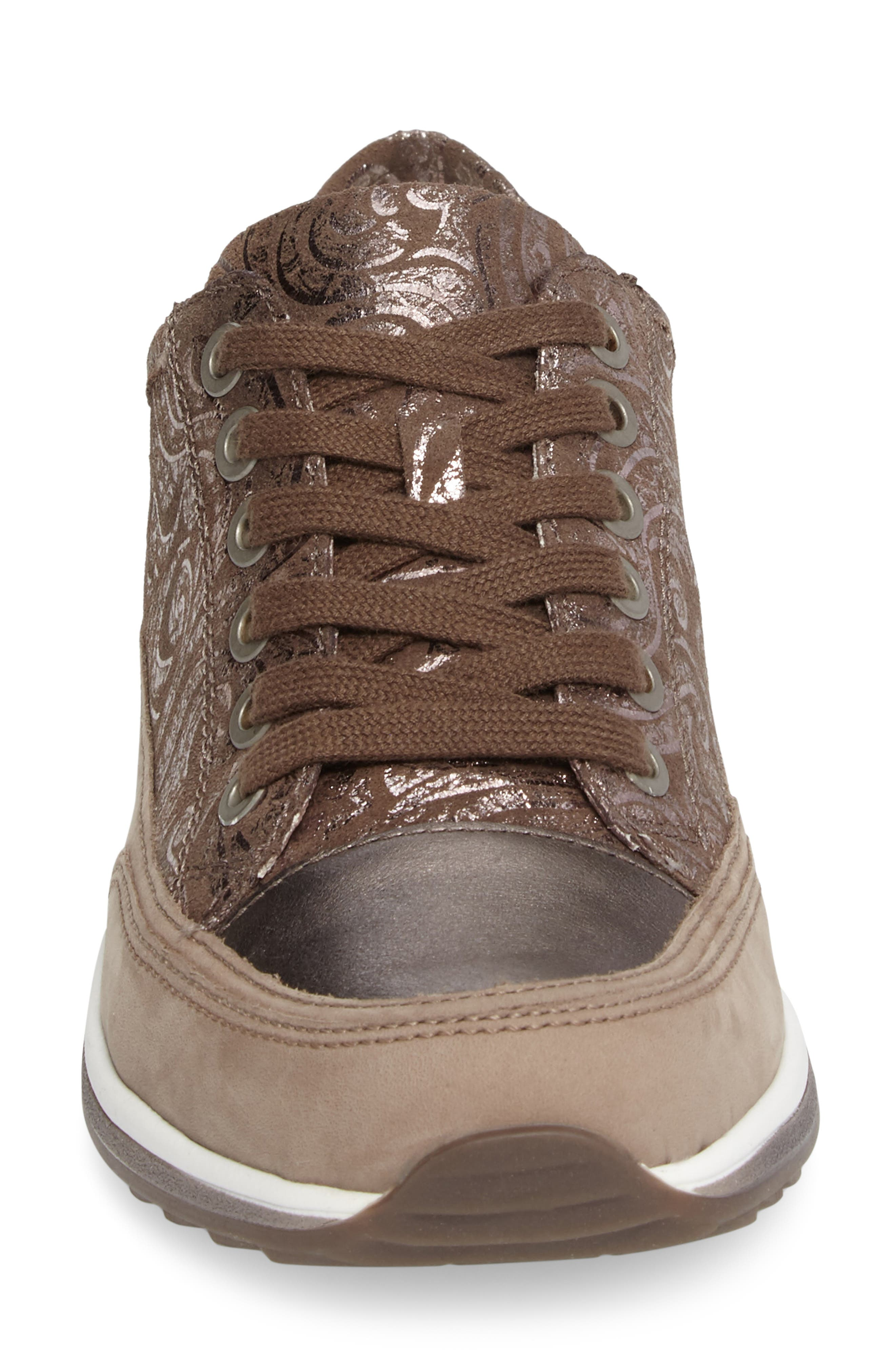 Hermione Sneaker,                             Alternate thumbnail 4, color,                             Taupe Combo Leather