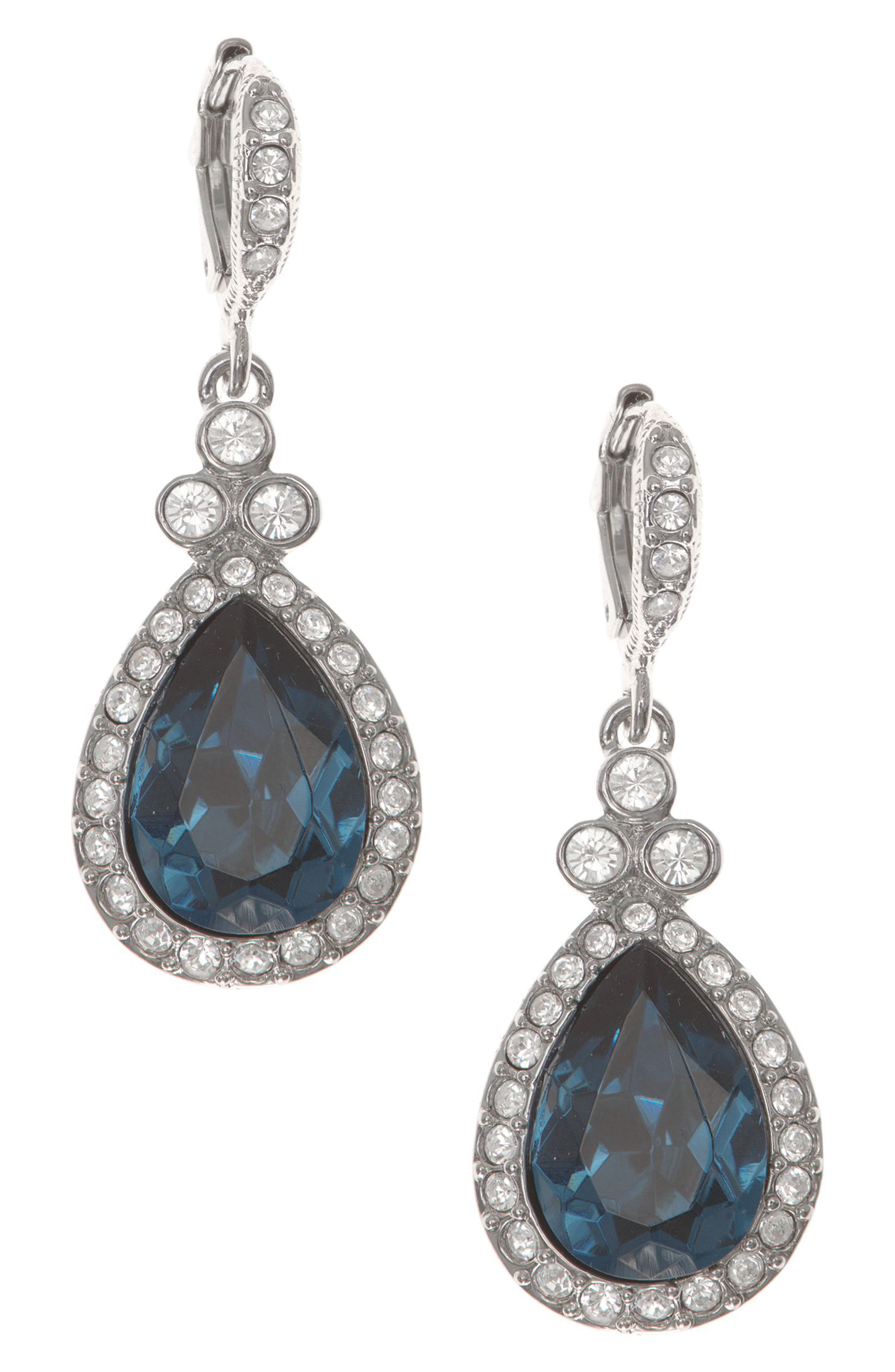 Pavé Drop Earrings,                         Main,                         color, Denim / Silver