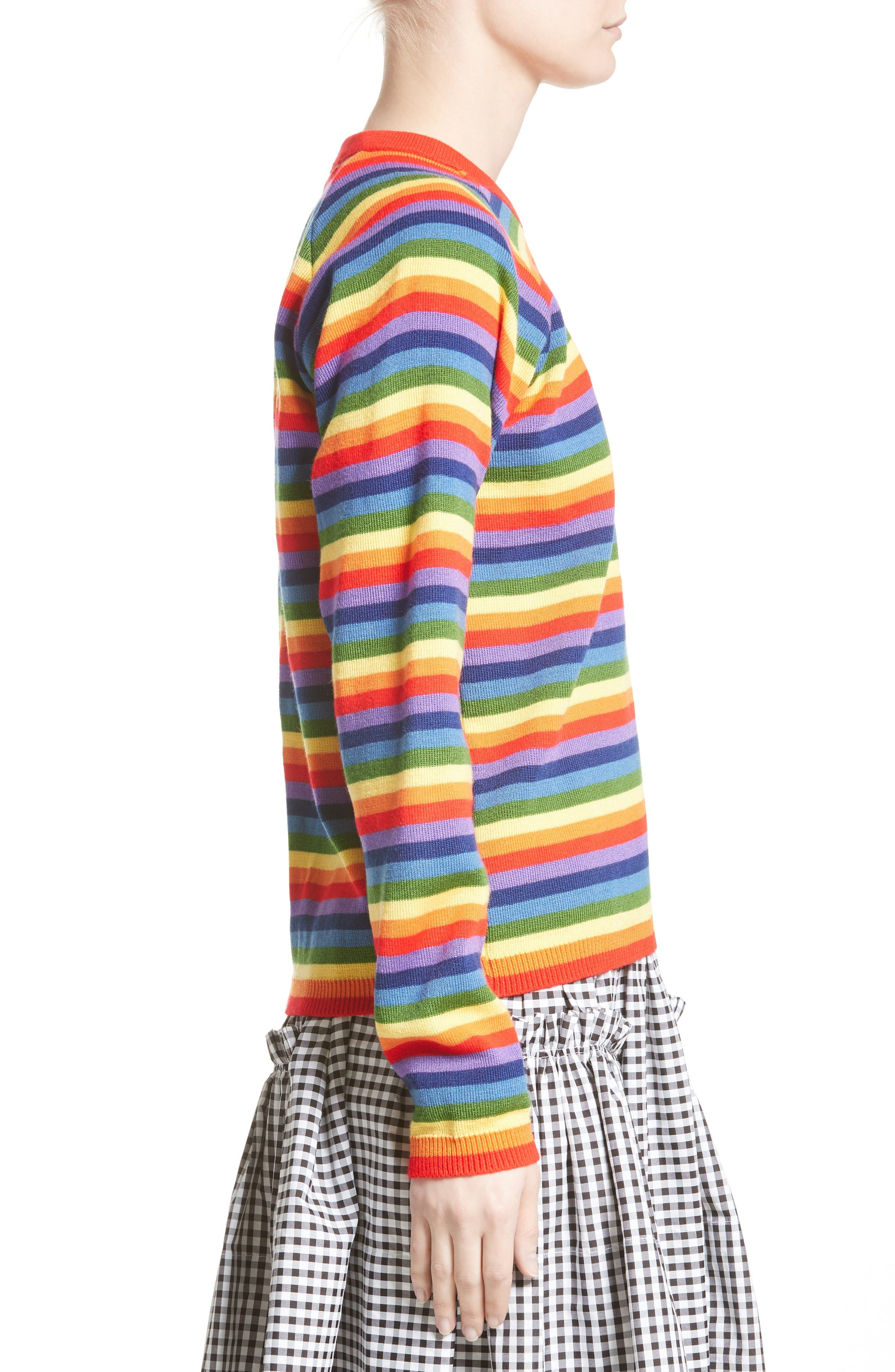 Charlie Rainbow Sweater,                             Alternate thumbnail 5, color,                             Rainbow