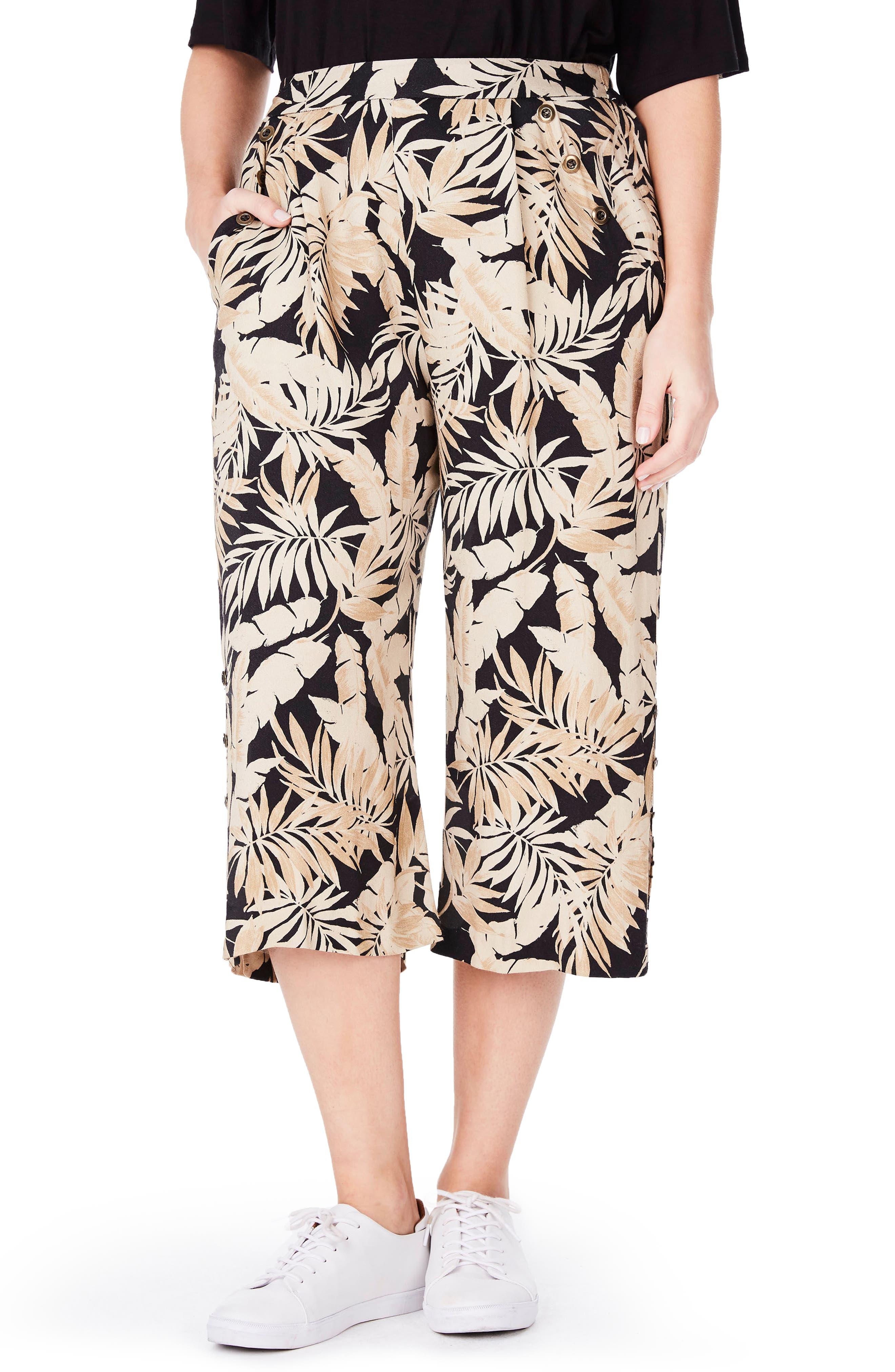 ELVI Tropical Print Culottes (Plus Size)