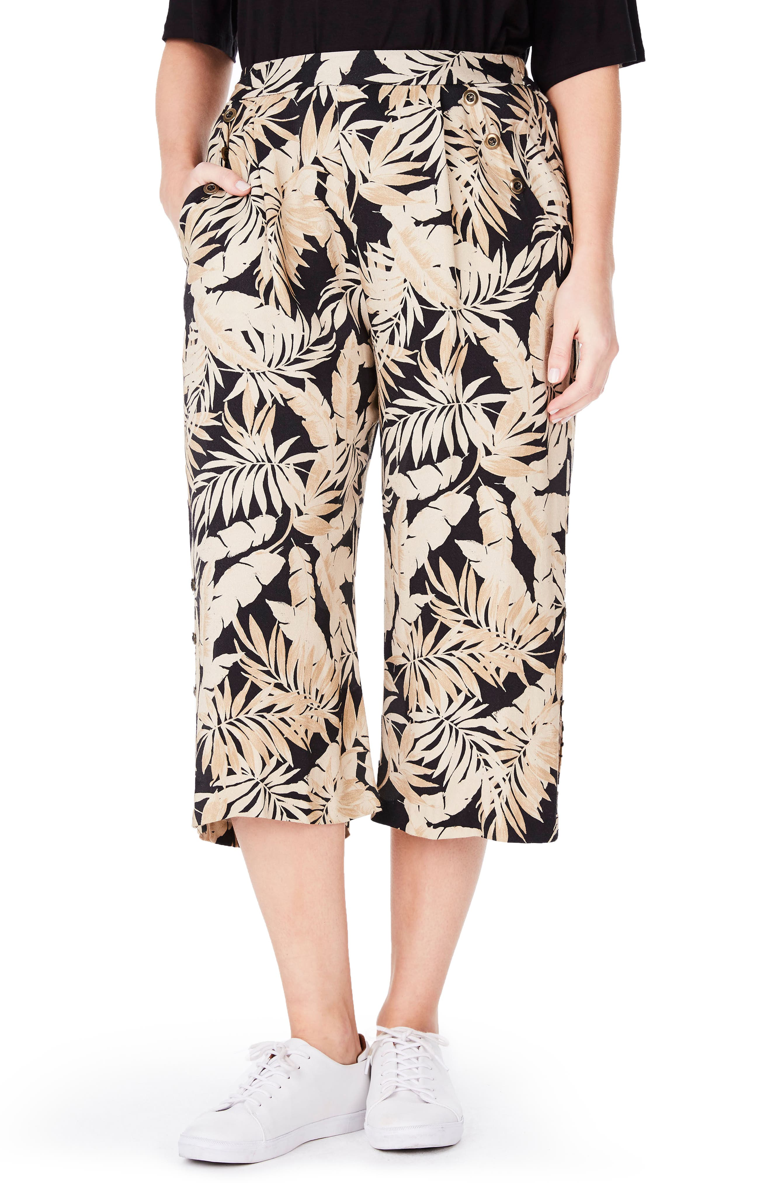 ELVI Tropical Print Culottes (Plus Size)