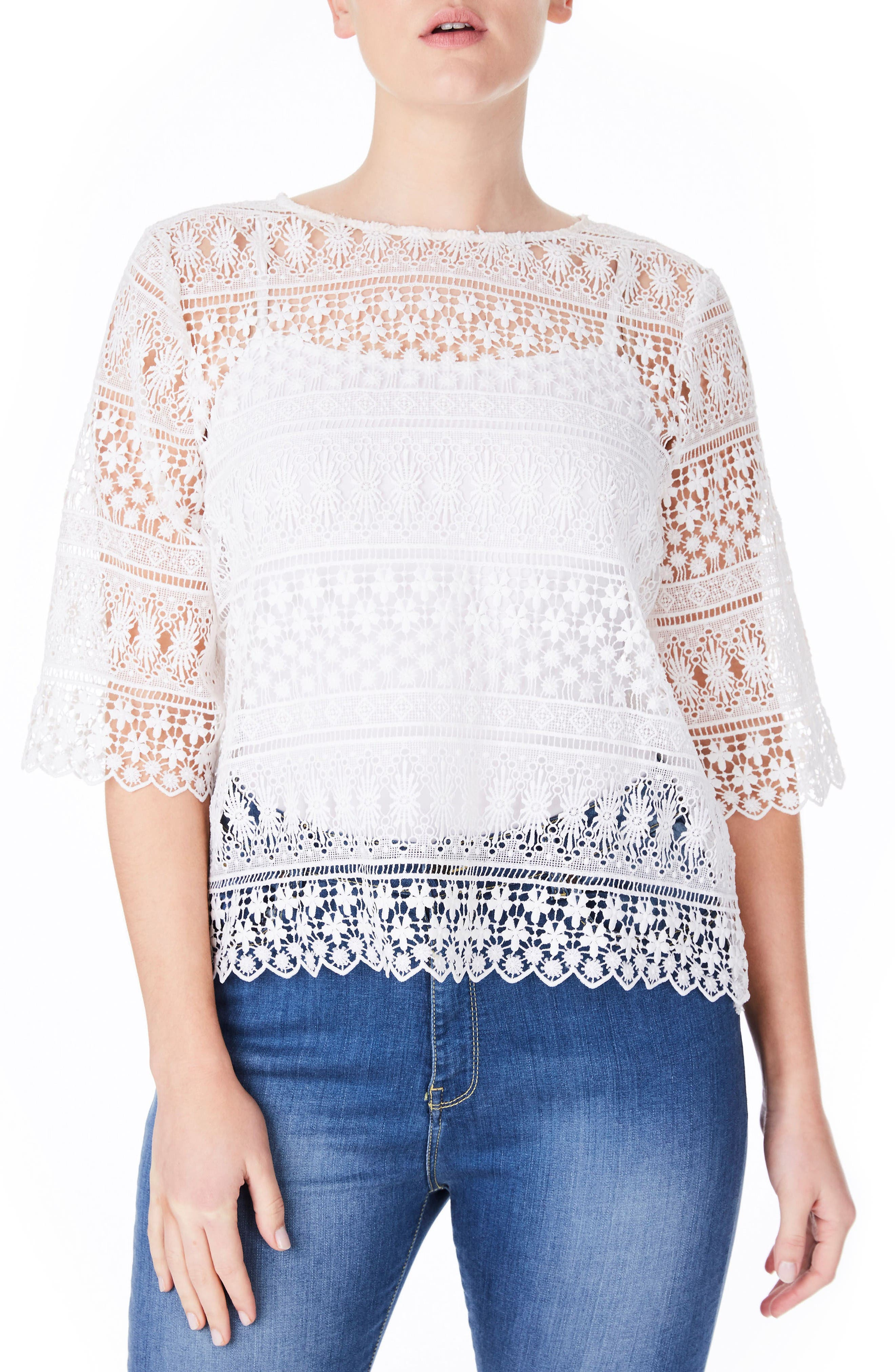 White Lace Top,                             Main thumbnail 1, color,                             White