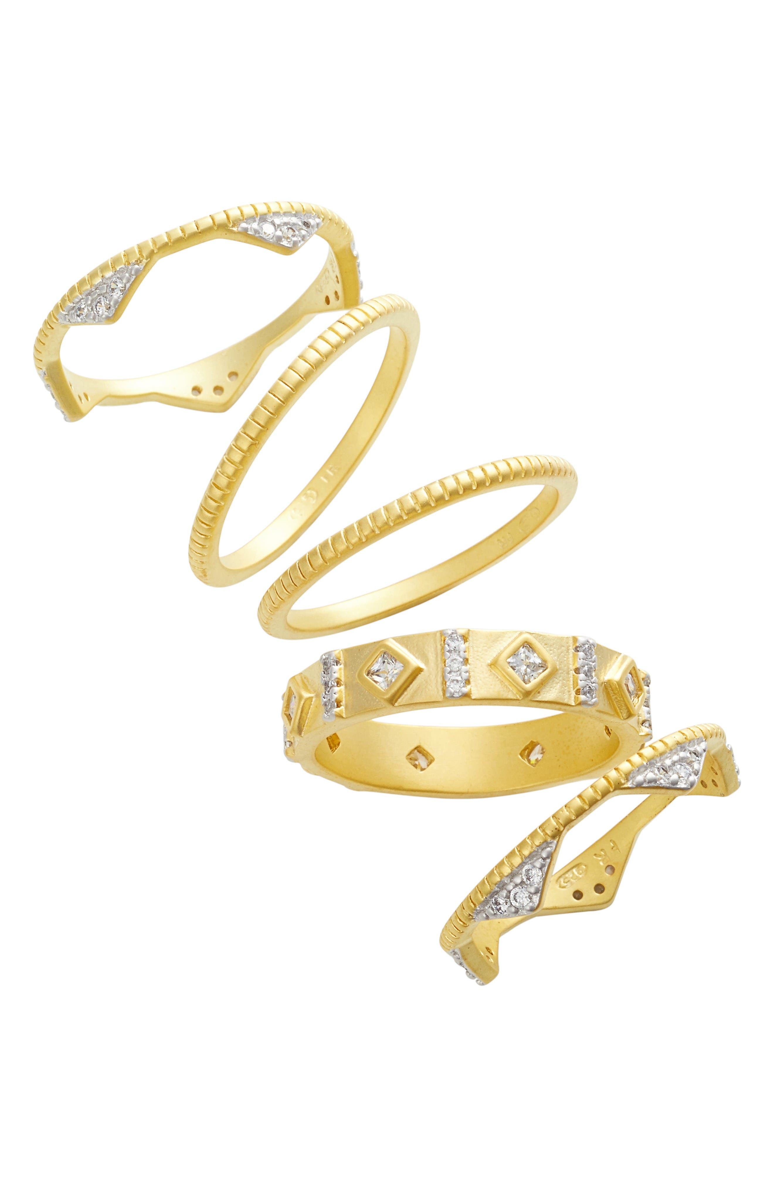 Visionary Fusion Set of 5 Stack Rings,                         Main,                         color, Gold