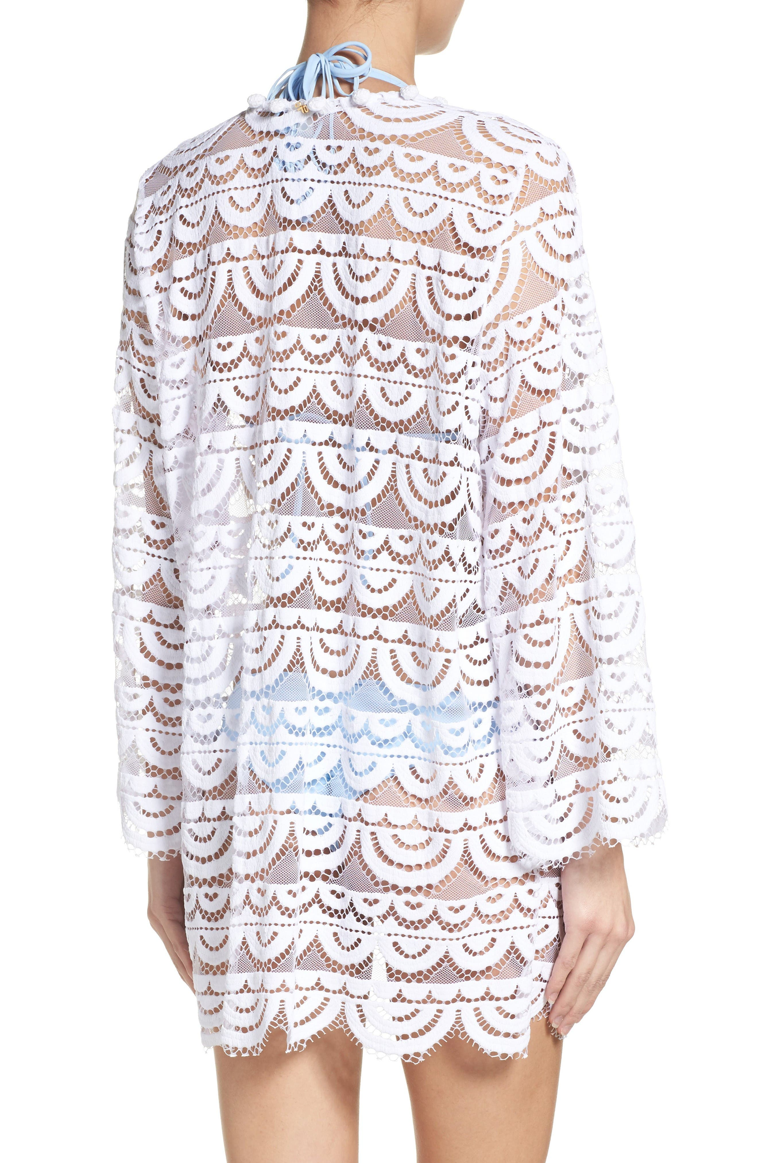 Lace Cover-Up Cardigan,                             Alternate thumbnail 2, color,                             White