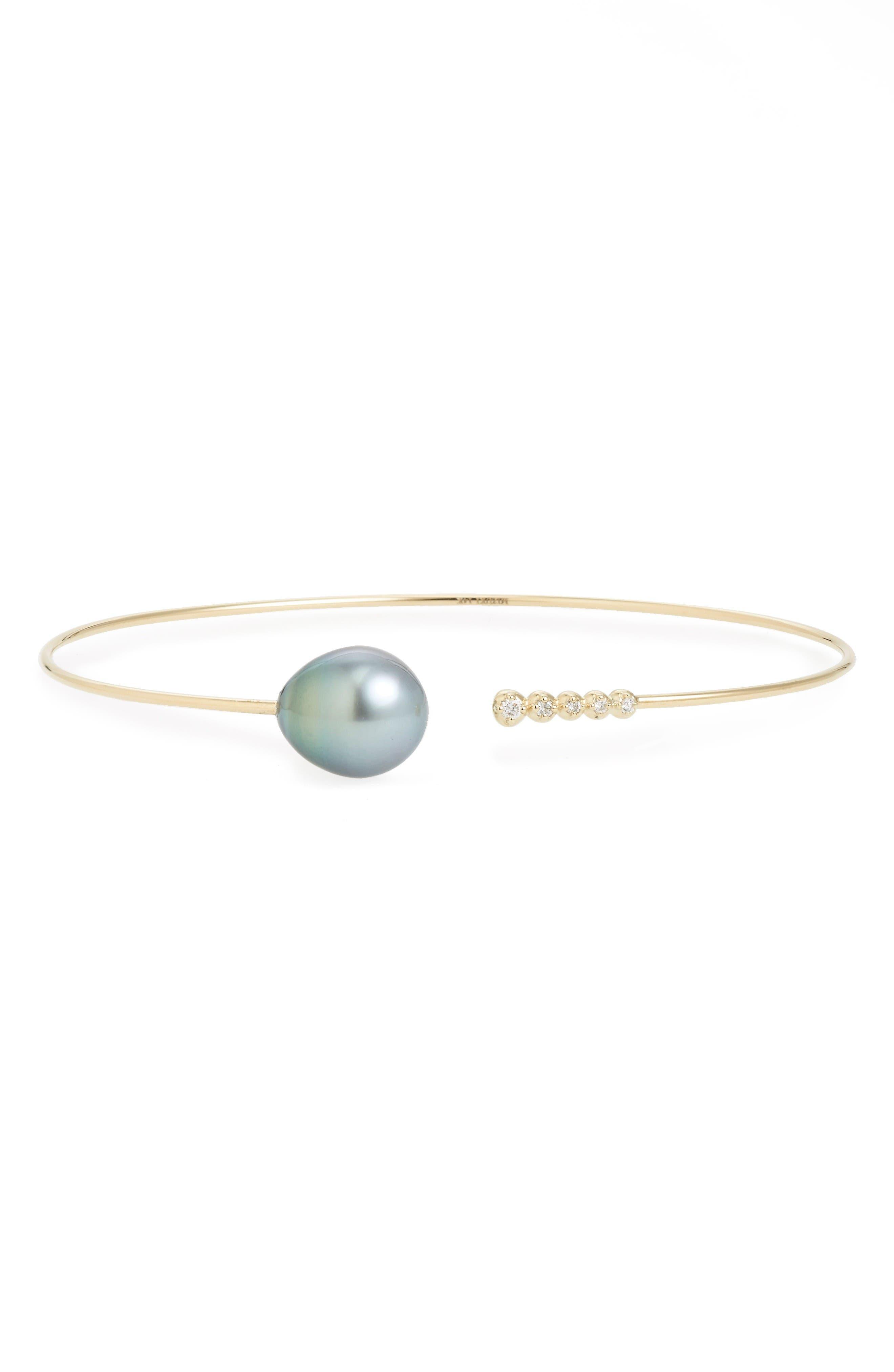MIZUKI Single Pearl & Diamond Cuff