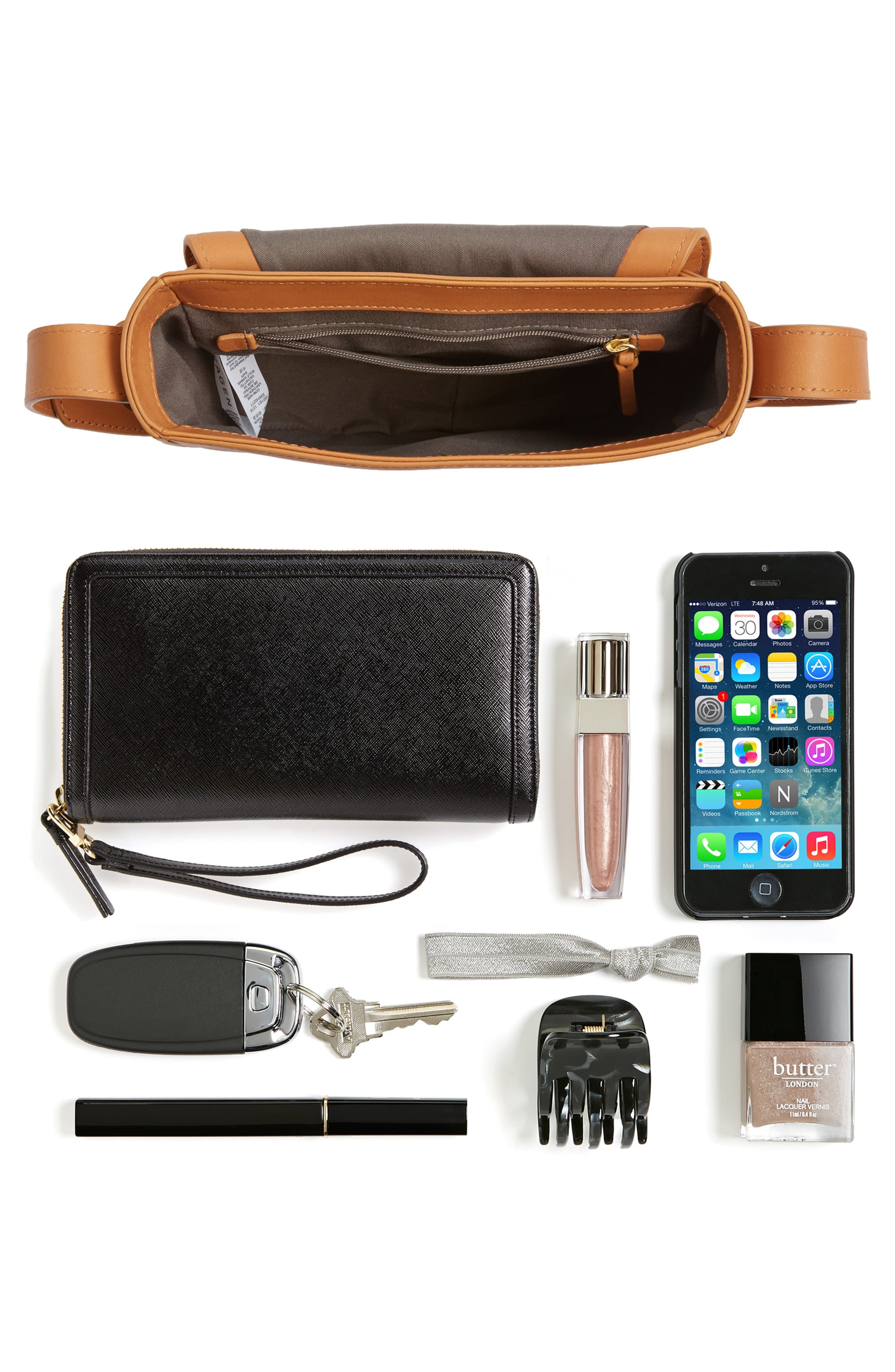 Lobelle Leather Saddle Bag,                             Alternate thumbnail 7, color,