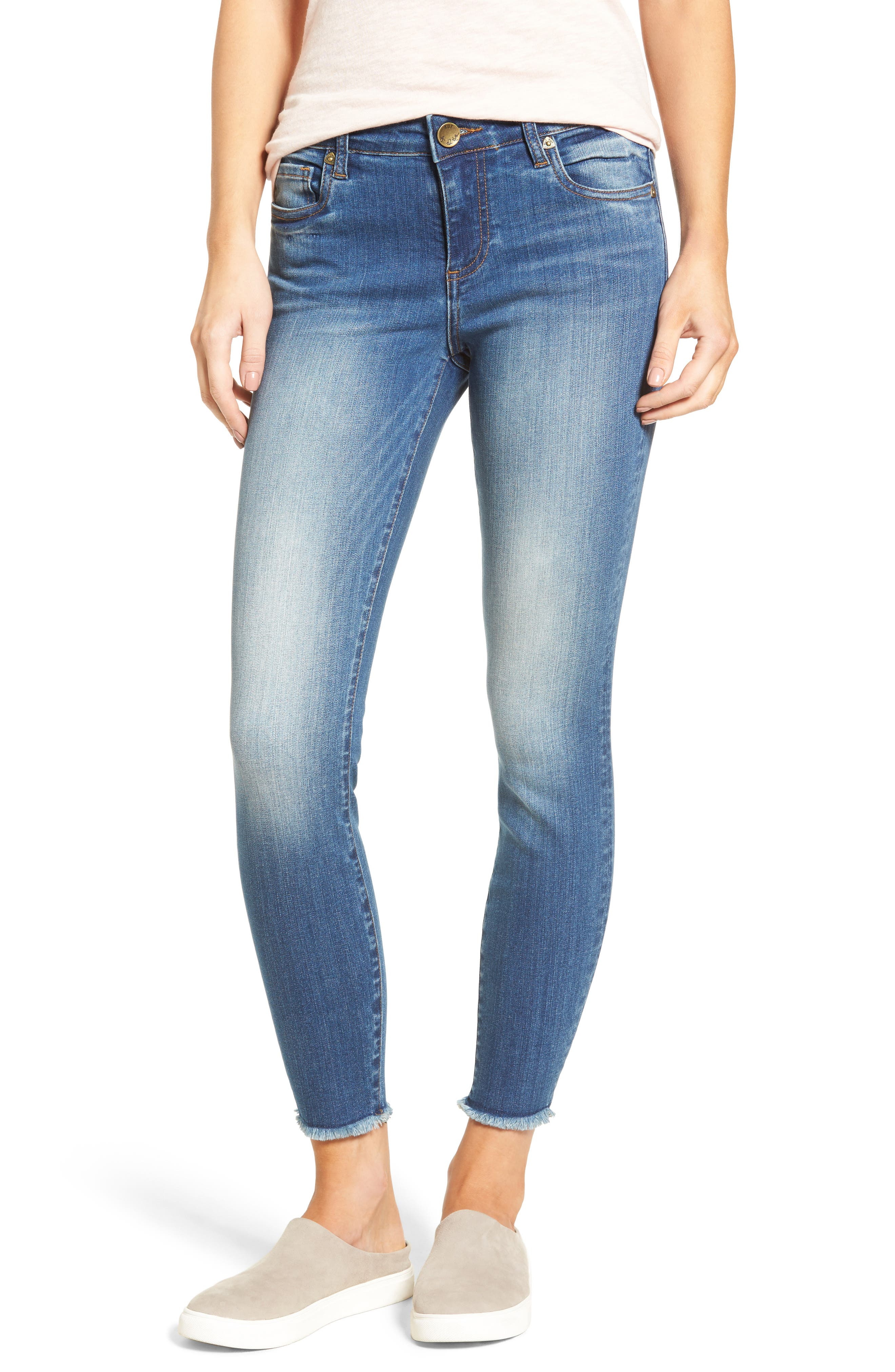 Main Image - KUT from the Kloth Connie Frayed Skinny Ankle Jeans (Historic)